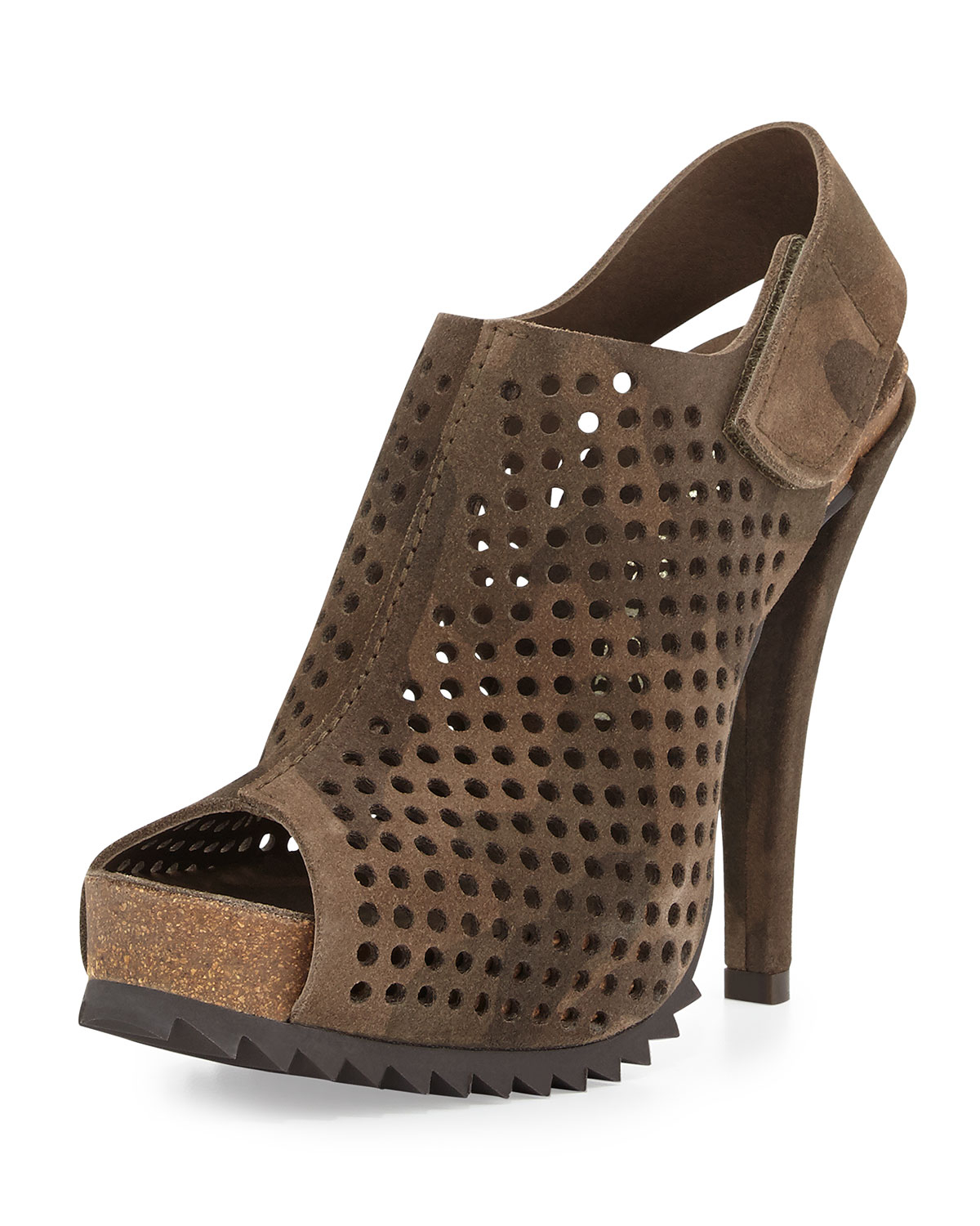 Pedro garcia Perforated Suede Slingback Bootie in Brown