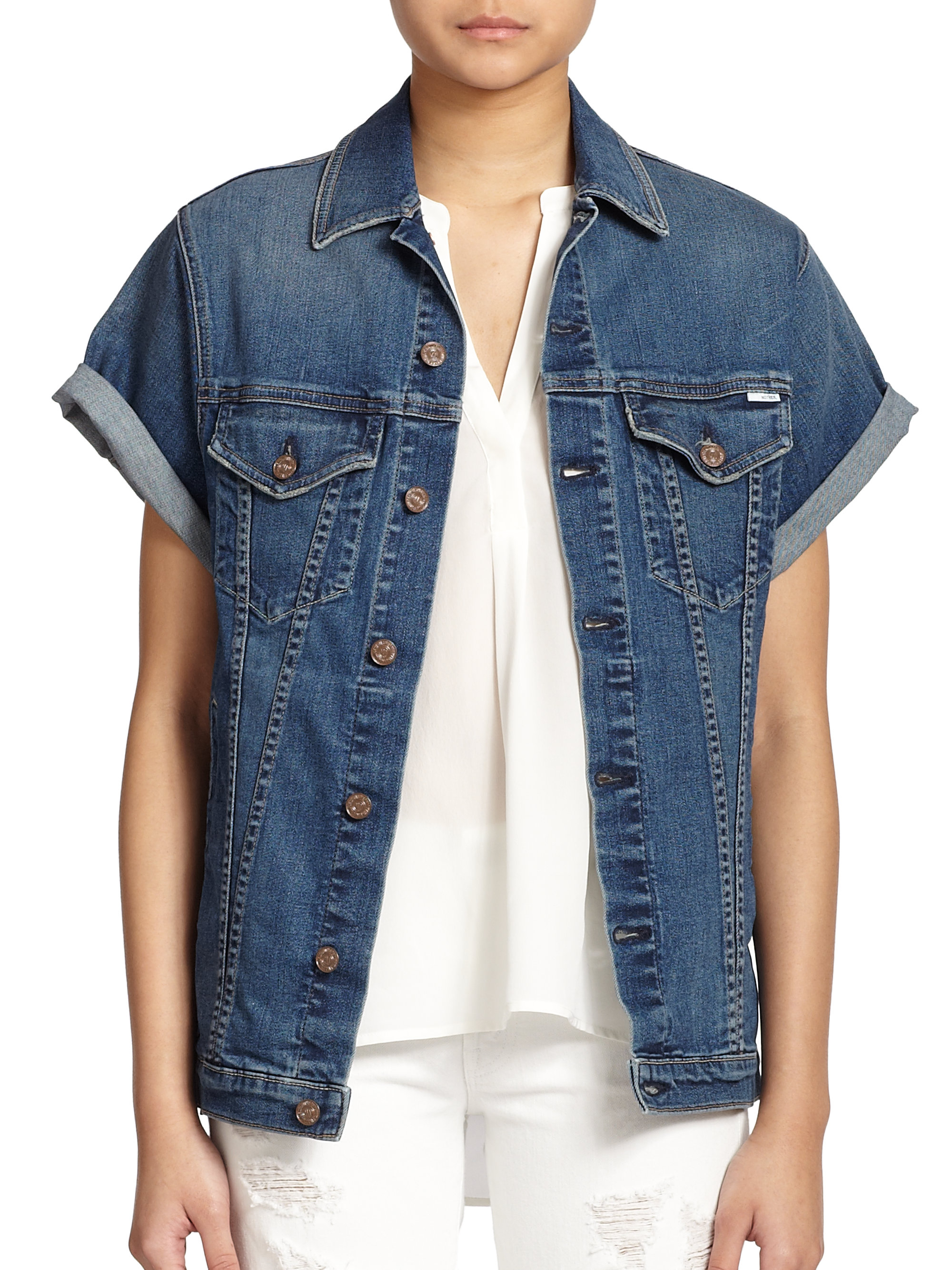Mother Cronie Short-Sleeve Denim Jacket in Blue | Lyst
