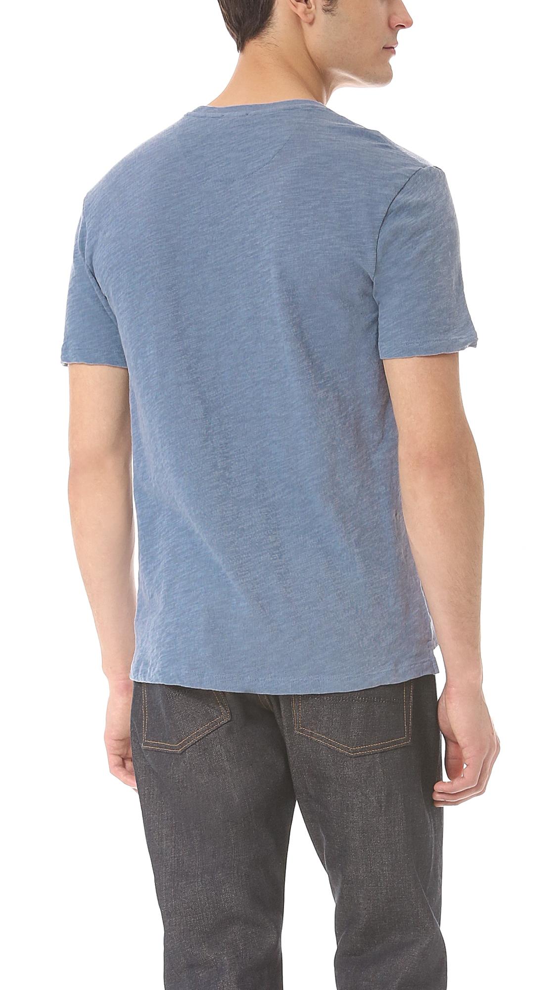 Vince slub t shirt in blue for men herring lyst for What is a slub shirt