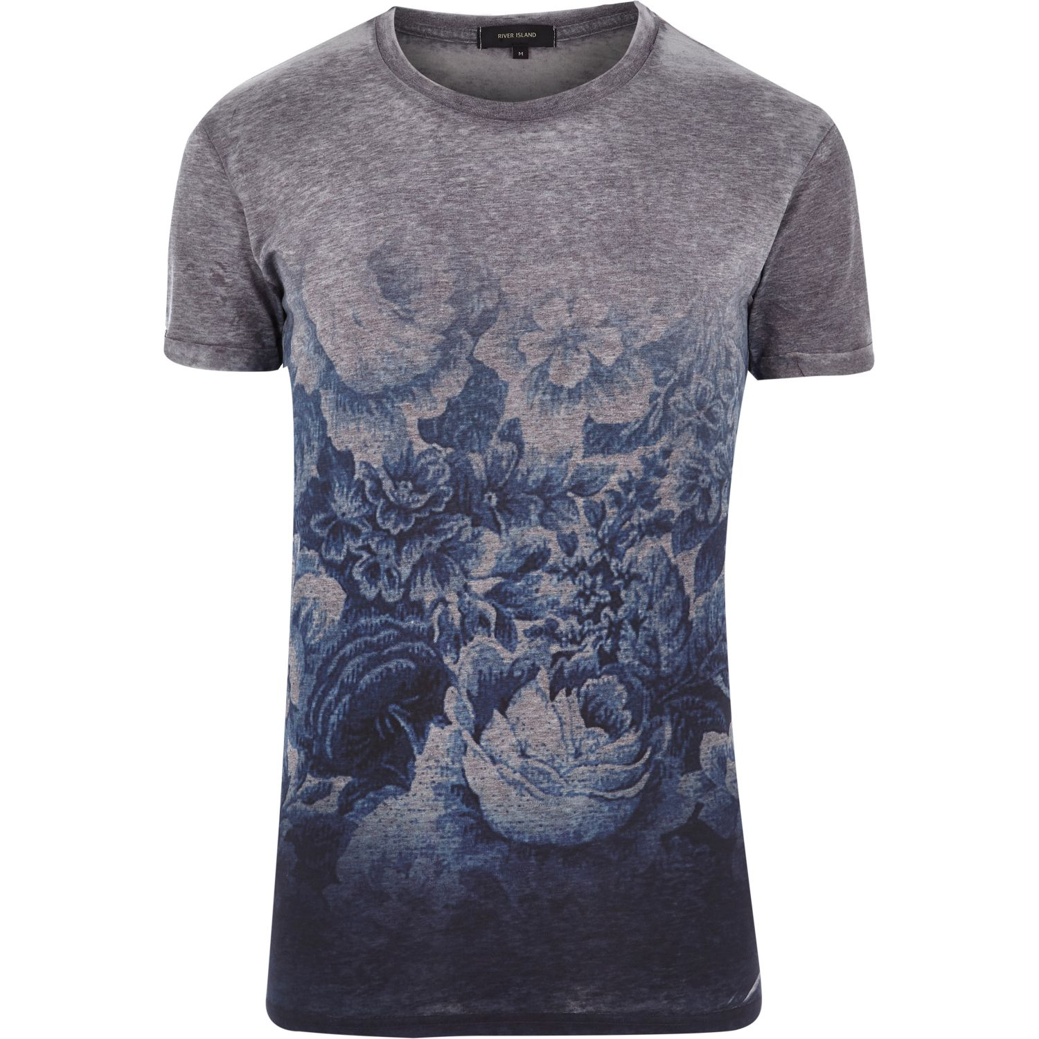 River island grey short sleeve fade print t shirt in gray for Faded color t shirts