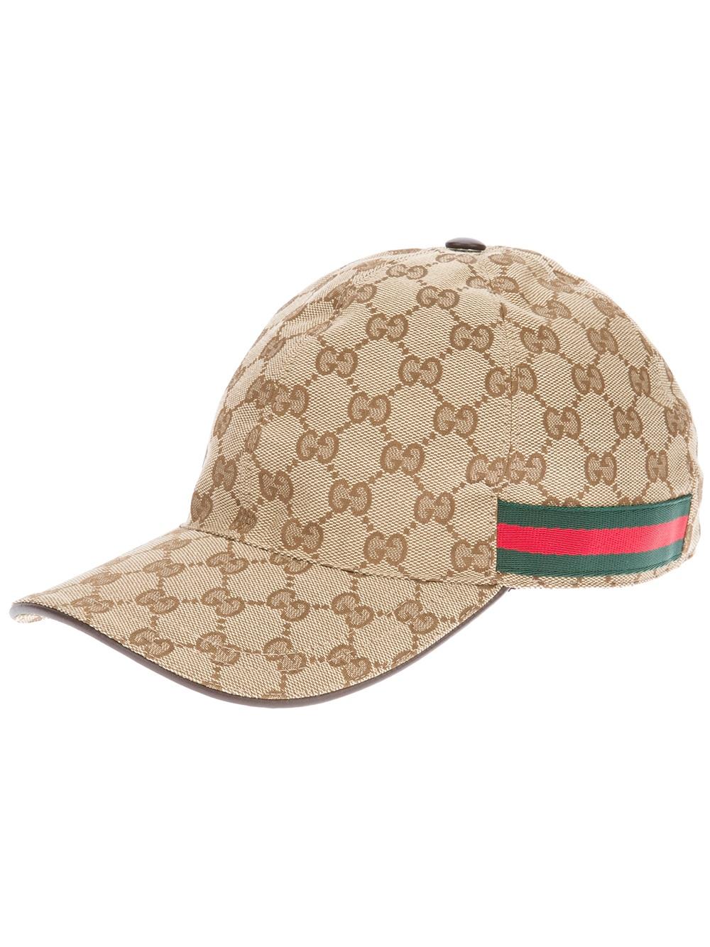 2e499653ac145 Gucci Unisex Emblem Print Cap in Natural for Men - Lyst