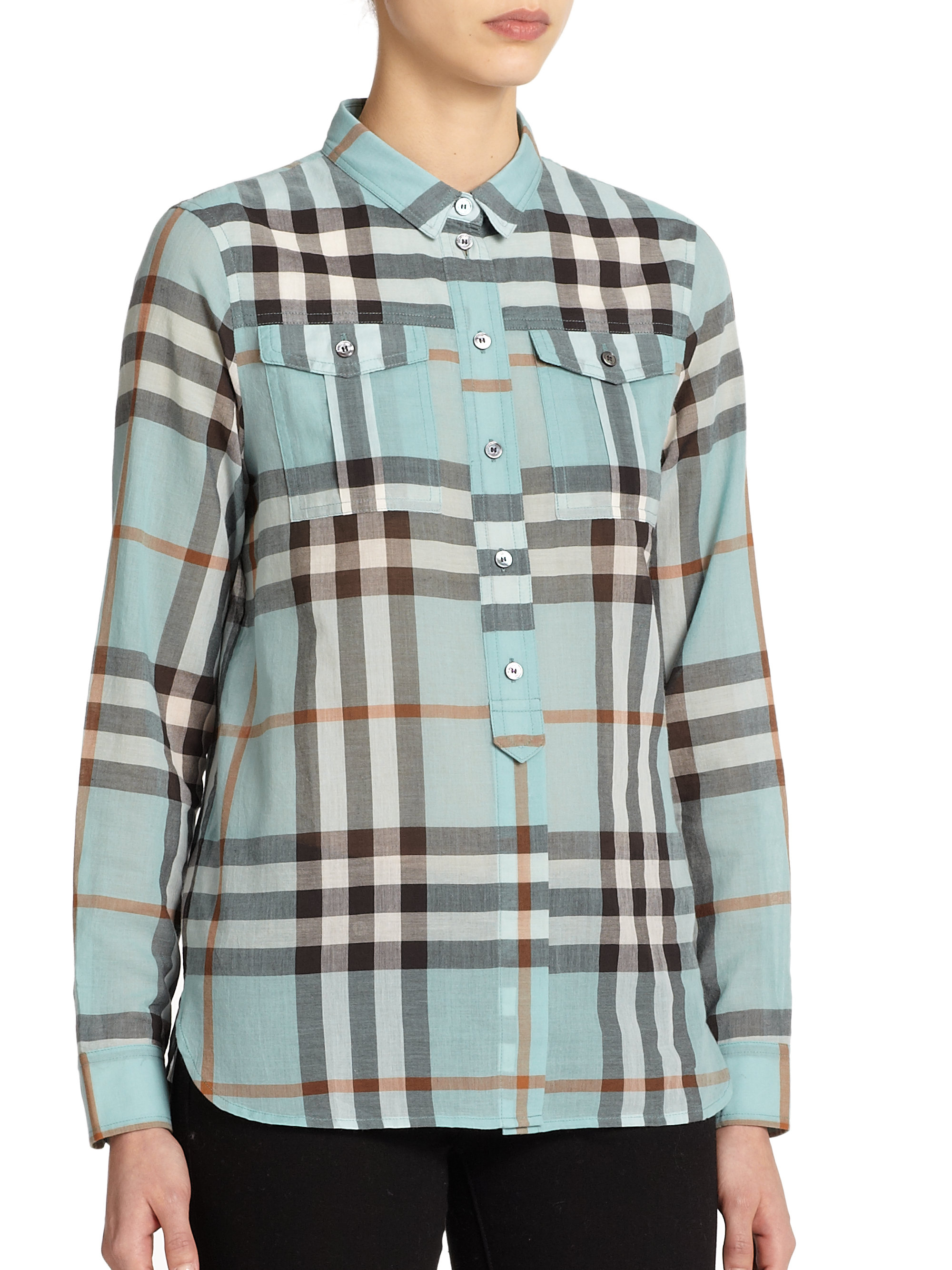 Burberry brit check patterned shirt in green lyst for Burberry brit green plaid shirt