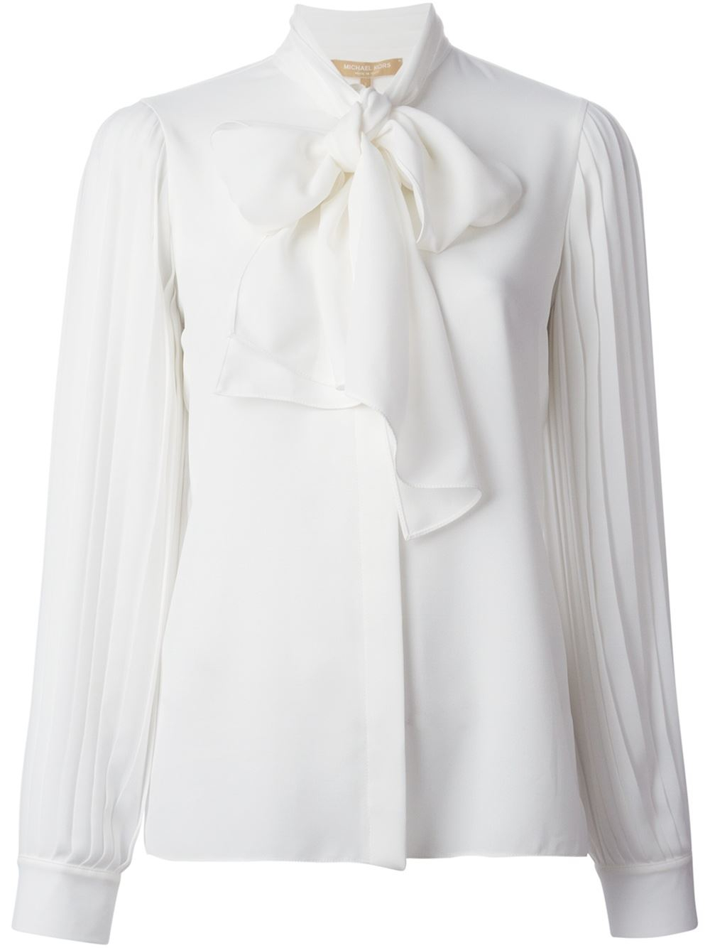 Lyst - Michael Kors Tie Blouse in White 91bb1790bea30