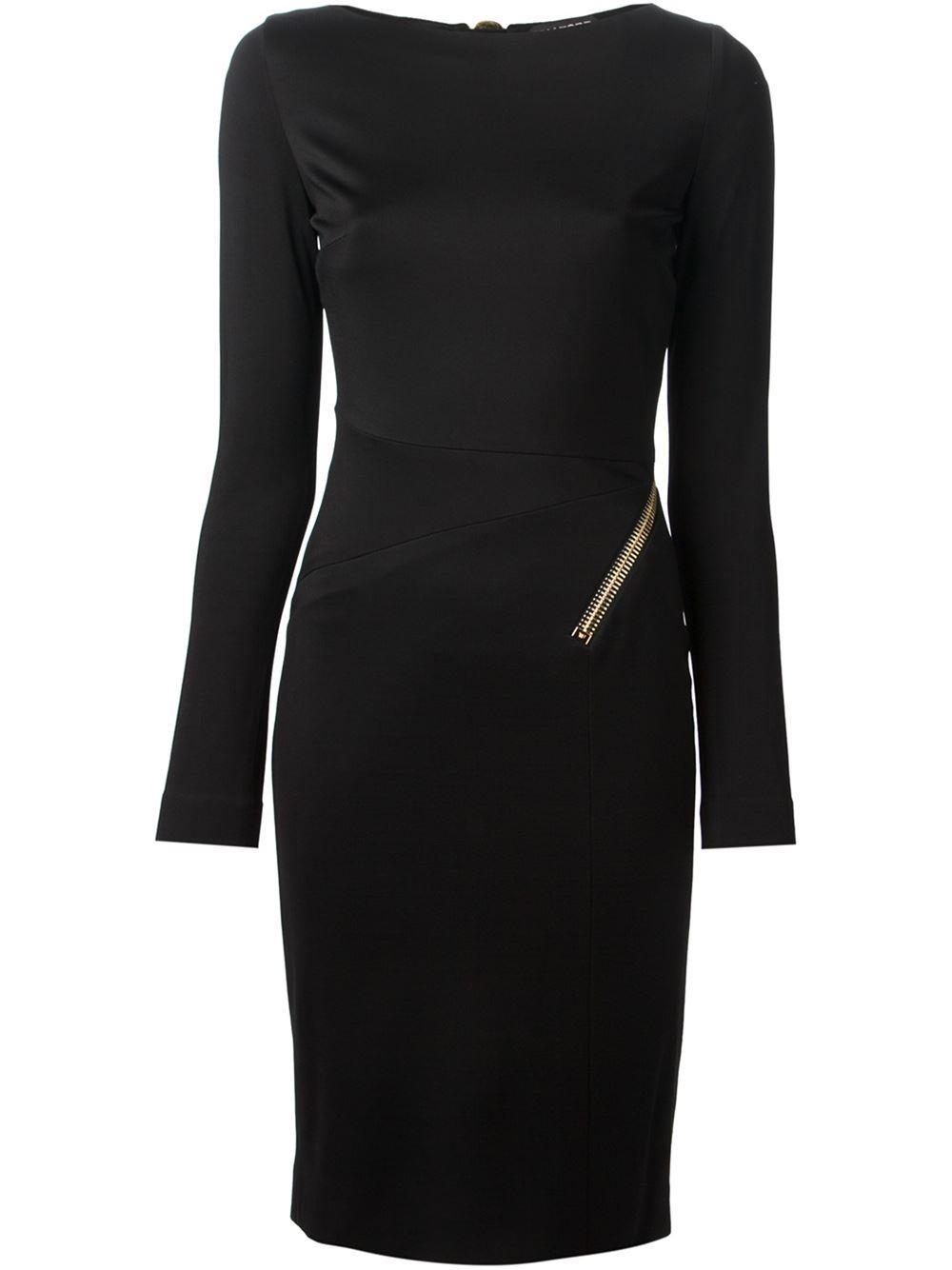 tom ford zip detail pencil dress in black lyst. Black Bedroom Furniture Sets. Home Design Ideas