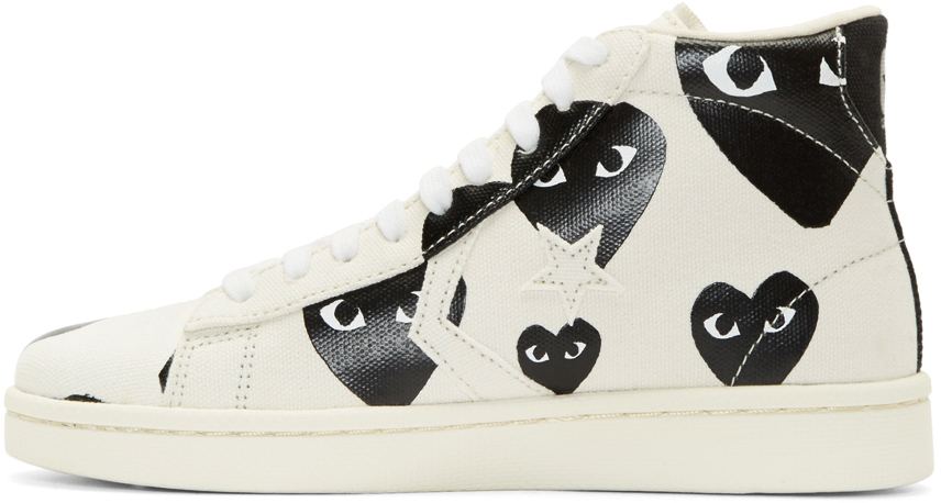 951b4c528fd4 Play Comme des Garçons White Heart Print Converse Edition High top Sneakers  in White for Men - Lyst