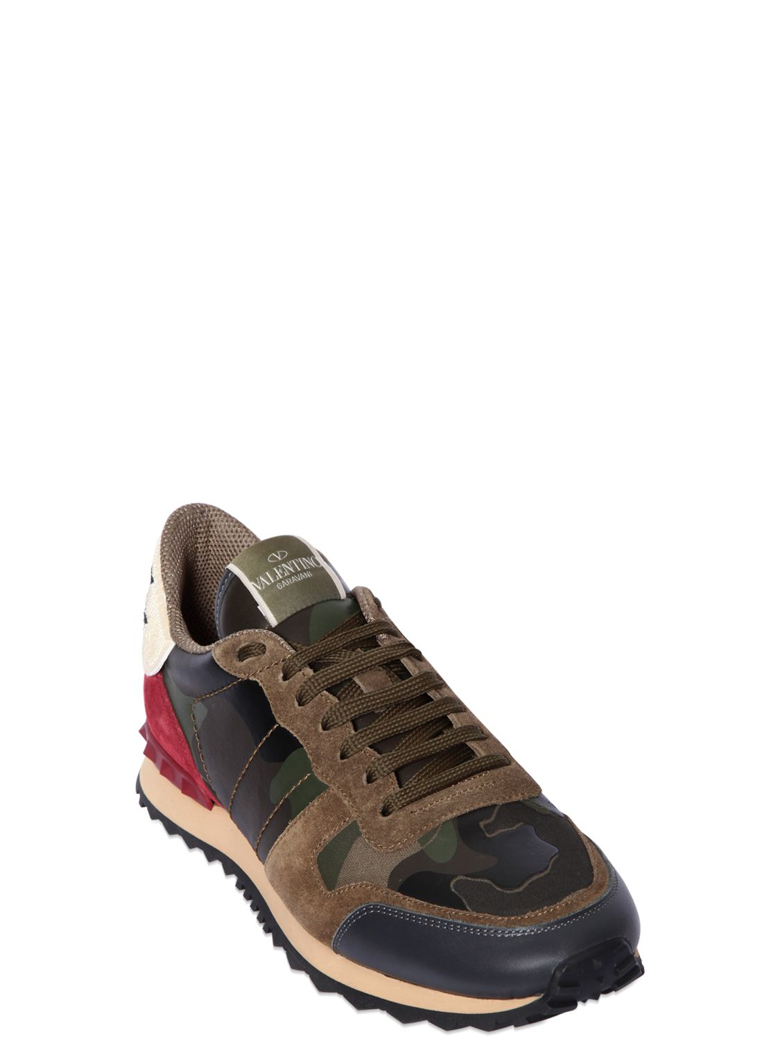 Rubber Rings For Men >> Valentino Rockrunner Beaded Eagle Camo Sneakers for Men | Lyst