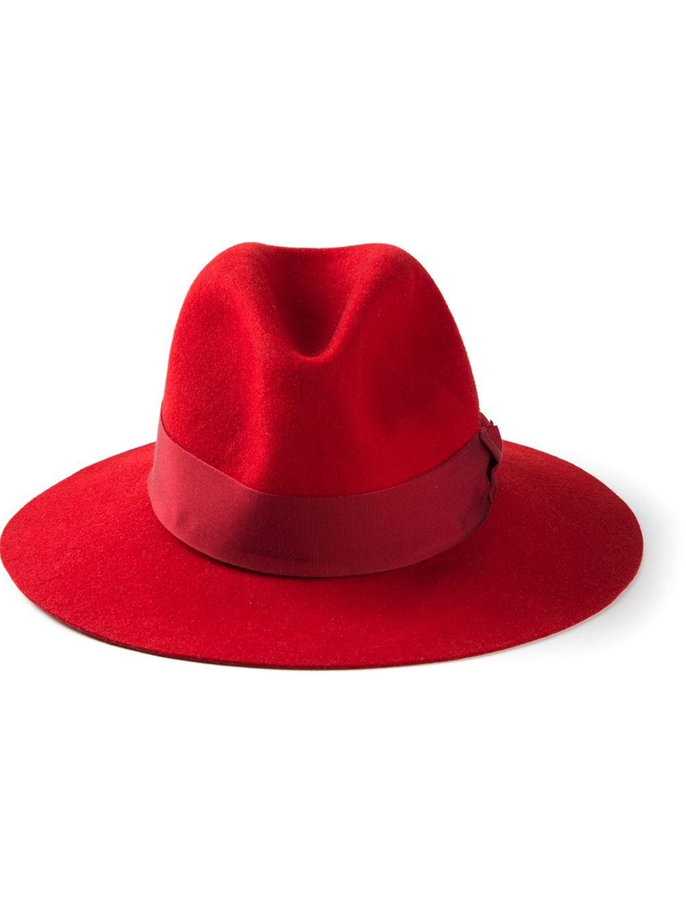 385c2cc53e5 Emilio Pucci Logo Detail Fedora Hat in Red - Lyst