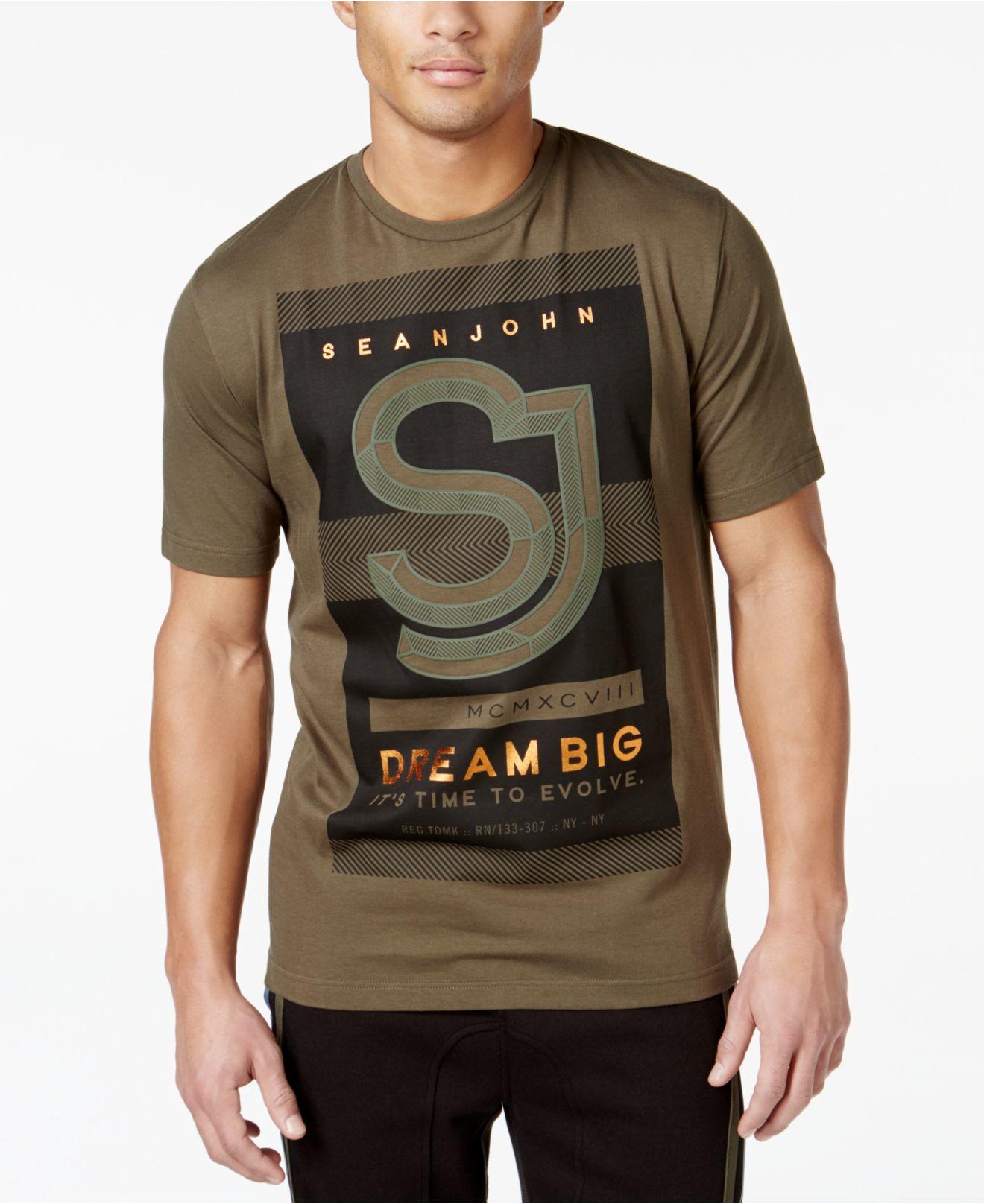 Lyst sean john men 39 s backstage t shirt in green for men for Sean john t shirts for mens