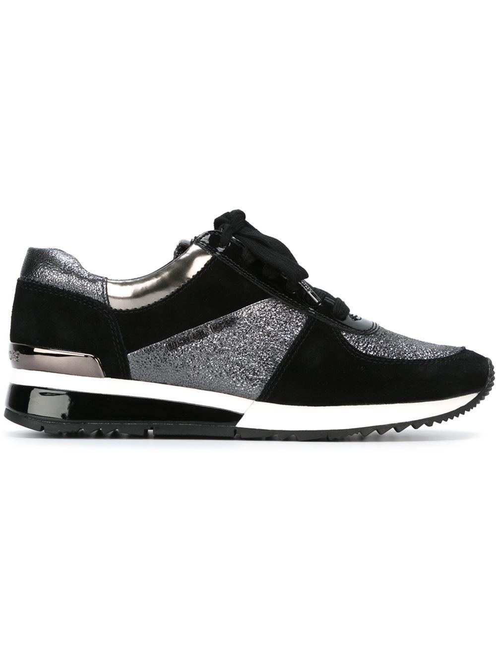 michael michael kors panelled sneakers in black lyst