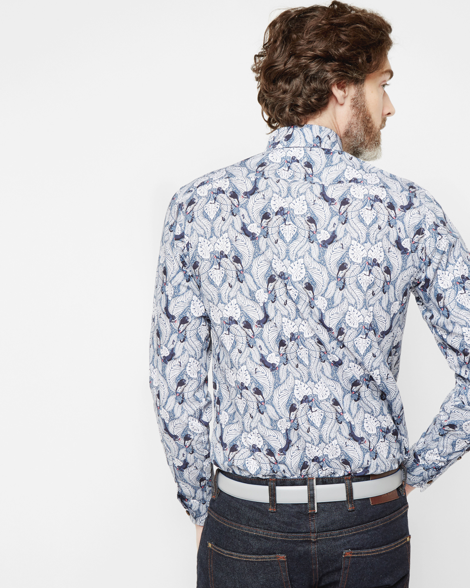 Ted Baker Monkey Print Cotton Shirt In Blue For Men Lyst
