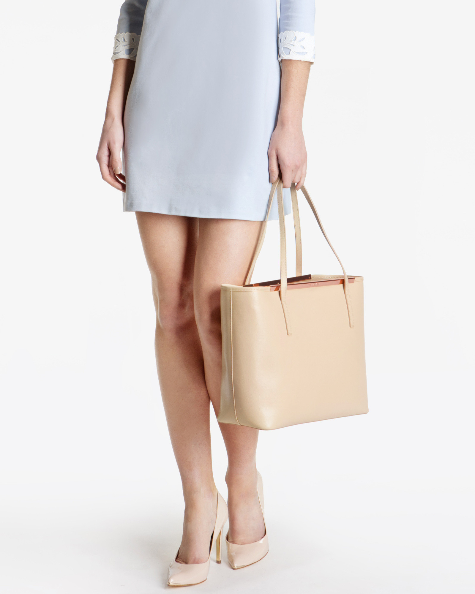 b3a967b52 Ted Baker Crosshatch Leather Shopper Bag in Natural - Lyst