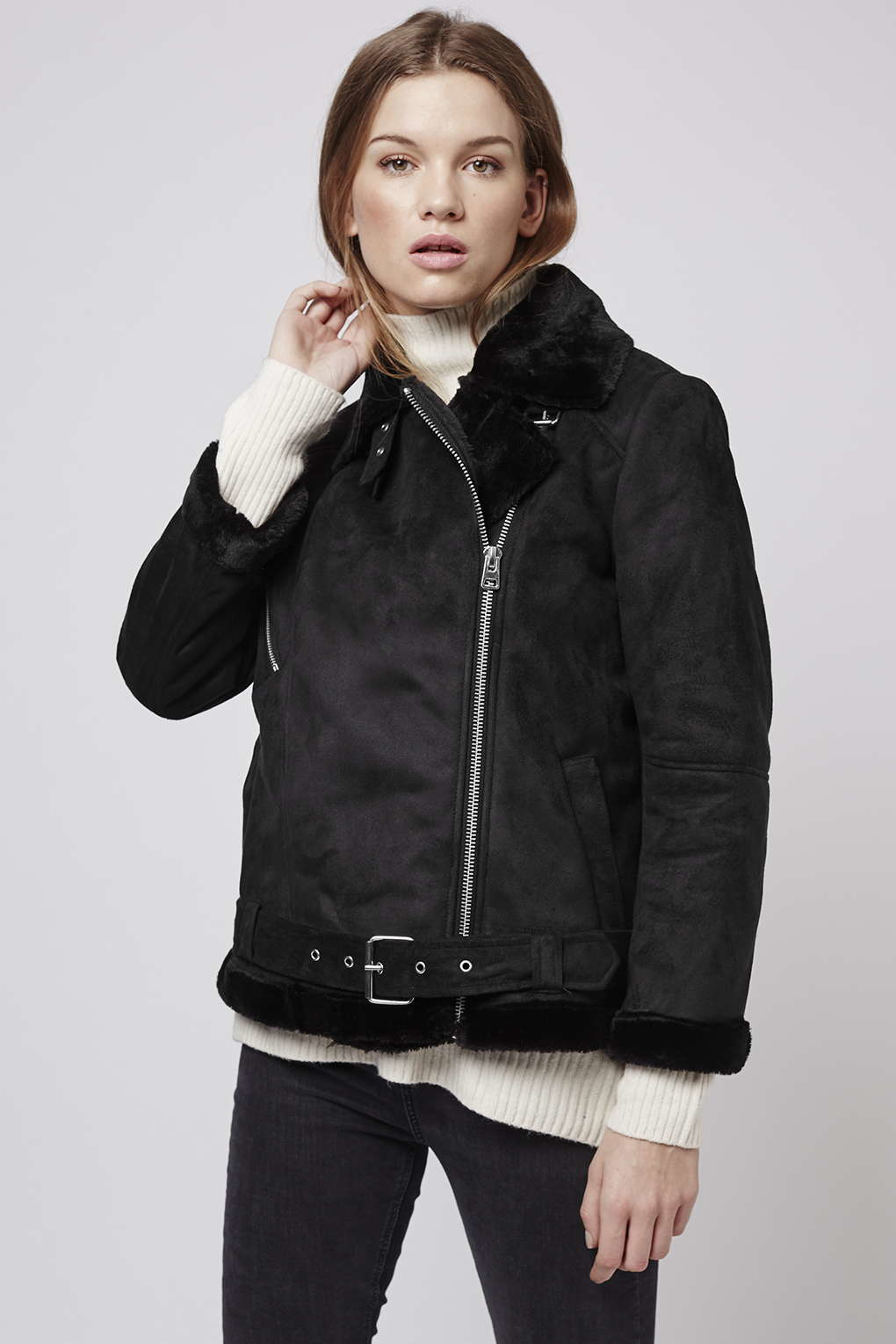 Topshop Petite Faux Fur Aviator Jacket in Black | Lyst