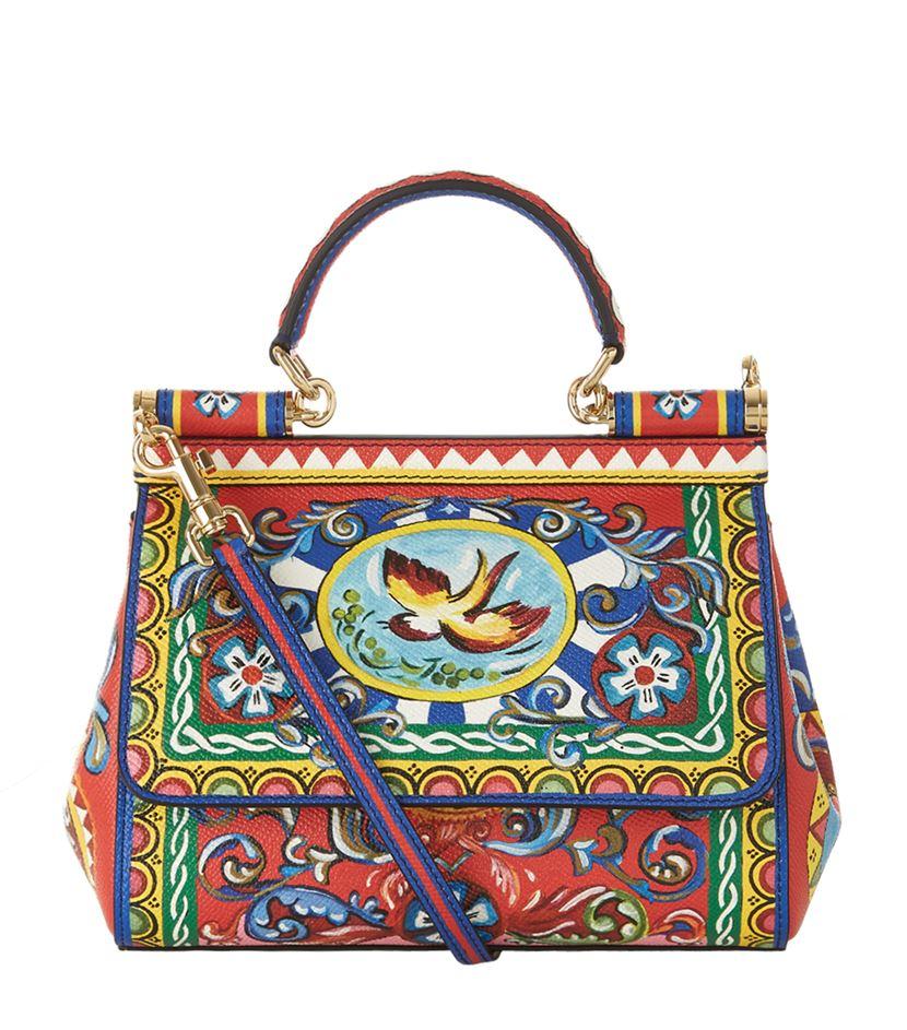 7480b1f36c06 Dolce   Gabbana Carretto Print Mini Sicily Top Handle Bag - Lyst