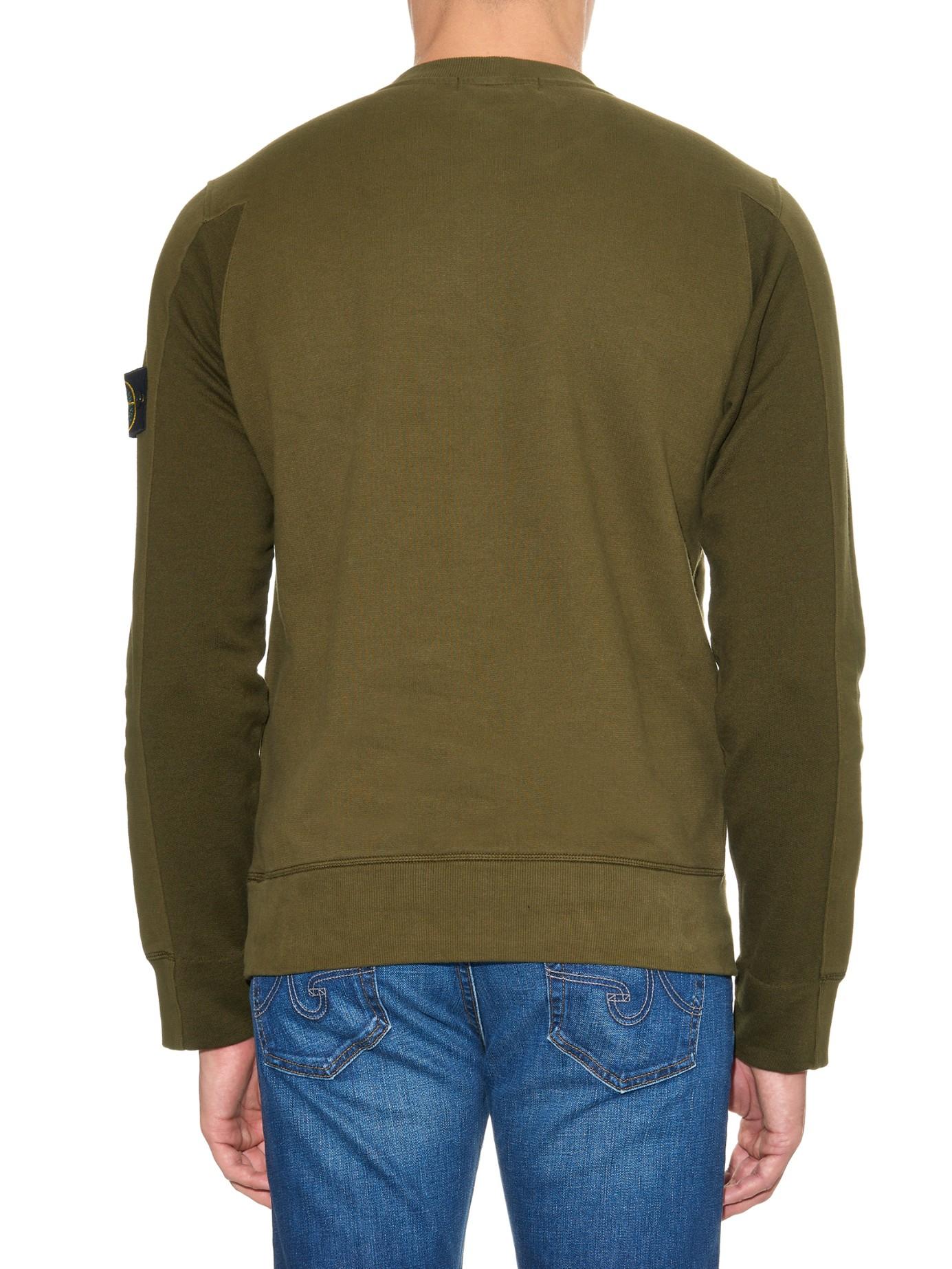 New Professional For Sale green crew neck logo patch cotton sweatshirt Stone Island QYuT90WQ5