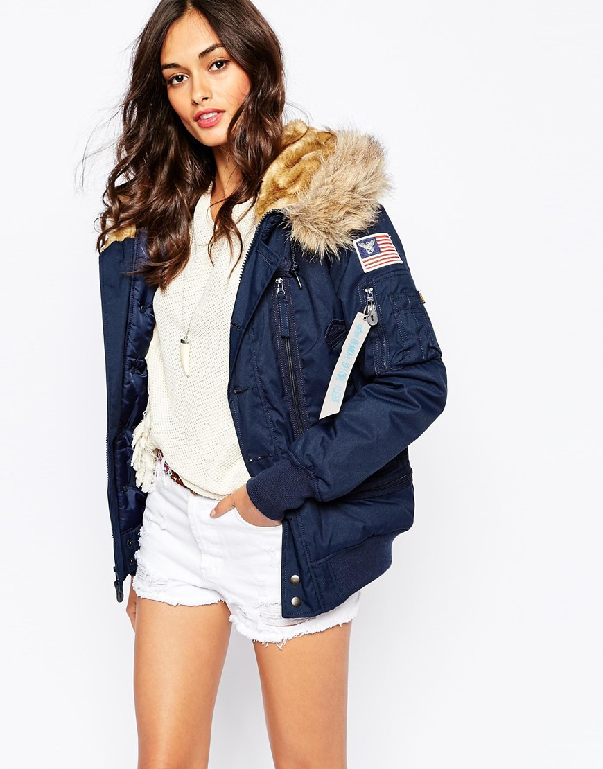 Alpha Industries Polar Hooded Bomber Jacket With Faux Fur