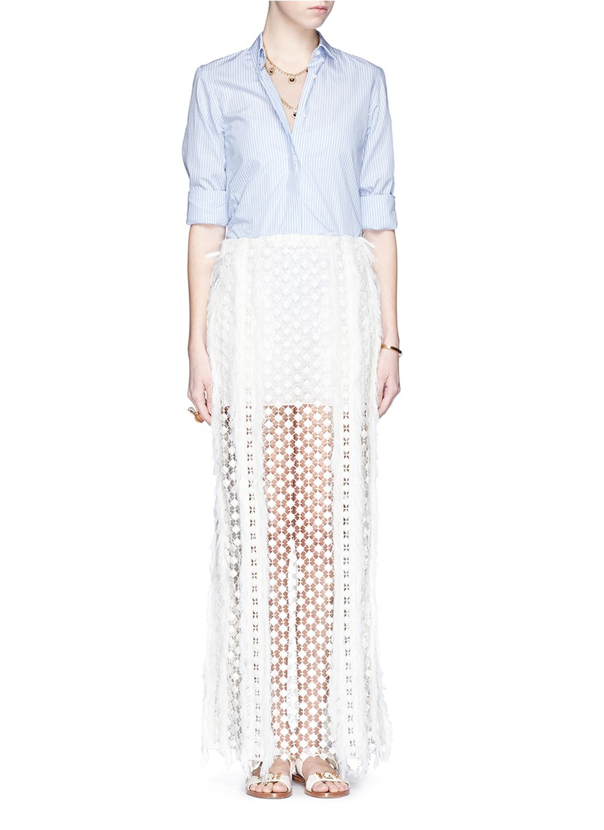 chlo 233 sheer geometric lace maxi skirt in white lyst
