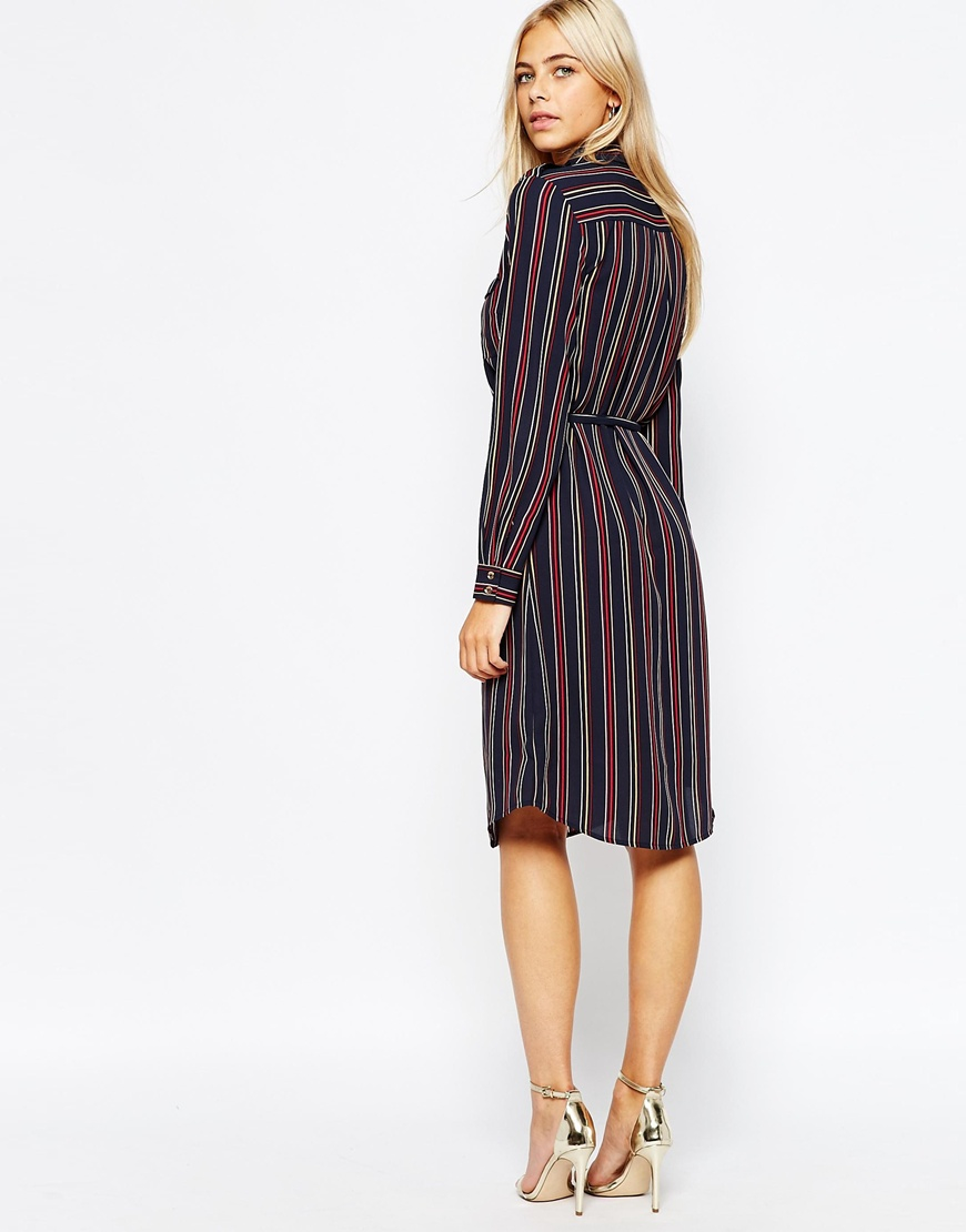 Wal g wrap detail dress with metallic stripe in blue navy lyst - Gallery