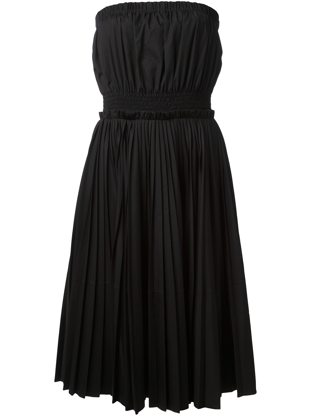 Givenchy Pleated Strapless Dress in Black | Lyst
