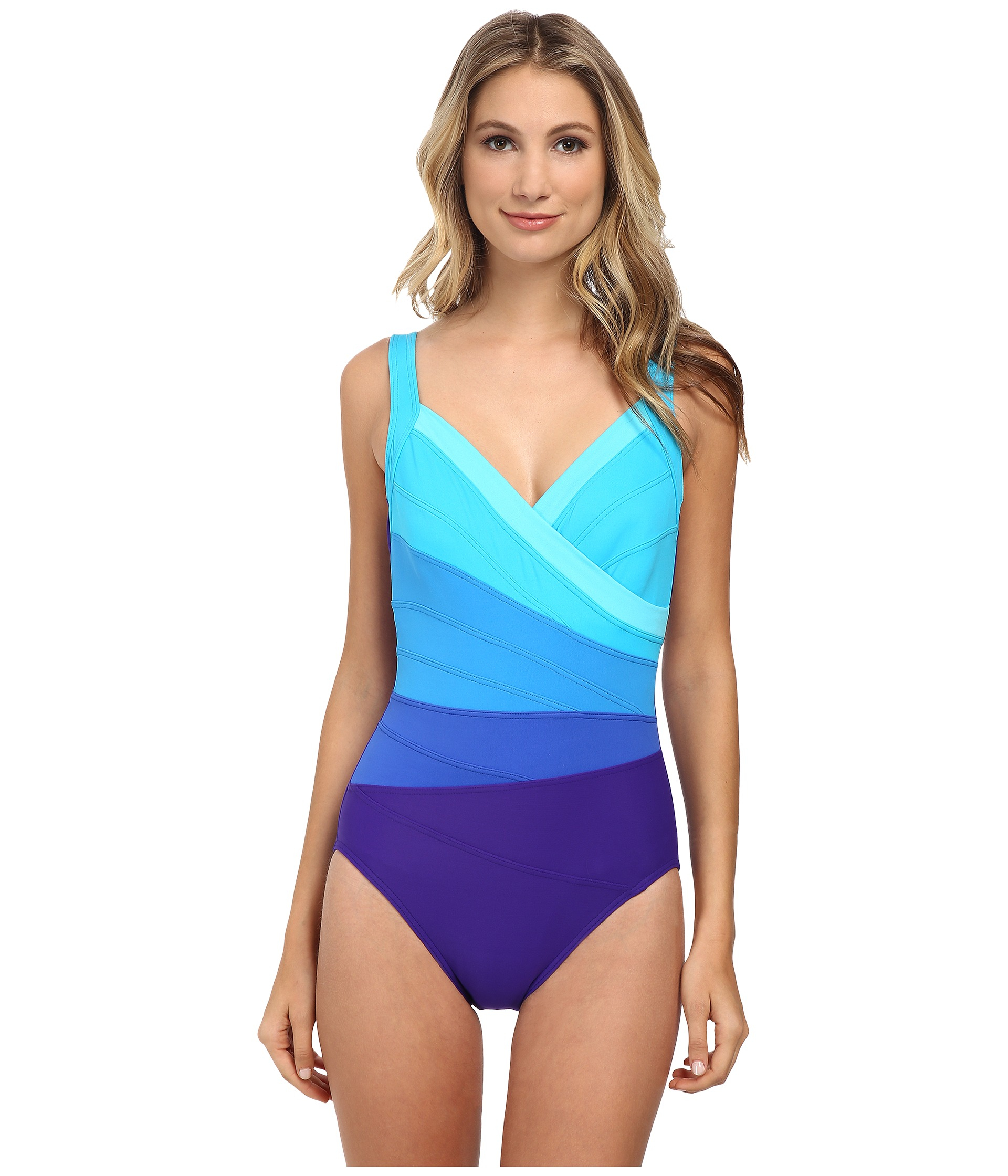 67e2d4fa157 Miraclesuit Spectra Band-it Surplice Swimsuit in Blue - Lyst