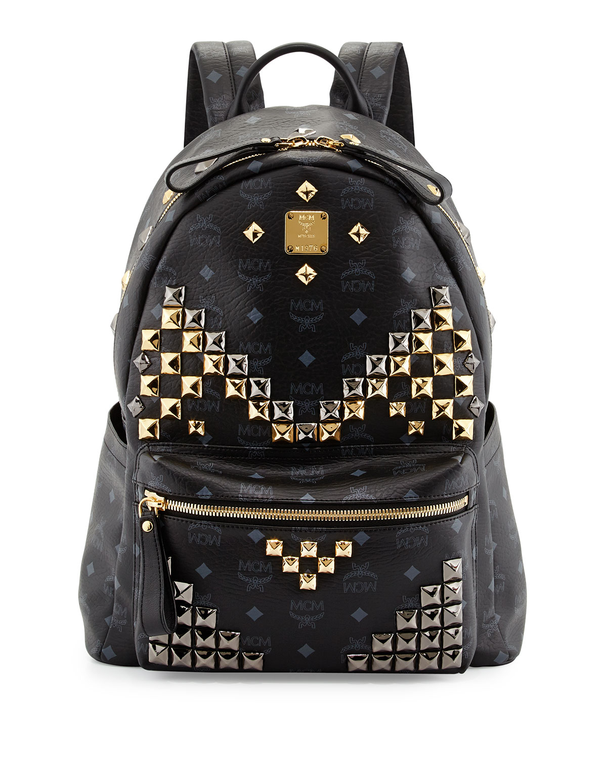 mcm stark m stud medium backpack in black for men