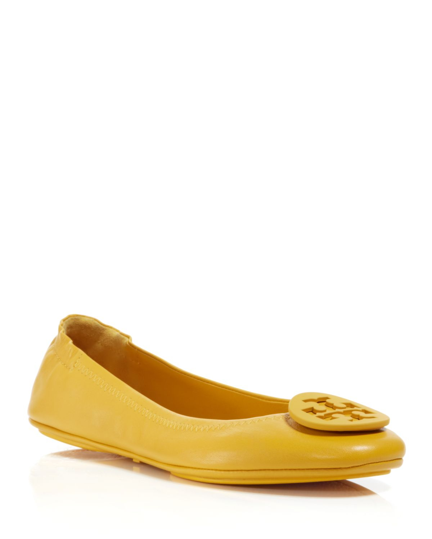 8502a488e2fb ... discount lyst tory burch ballet flats minnie travel in yellow 1564e  96698