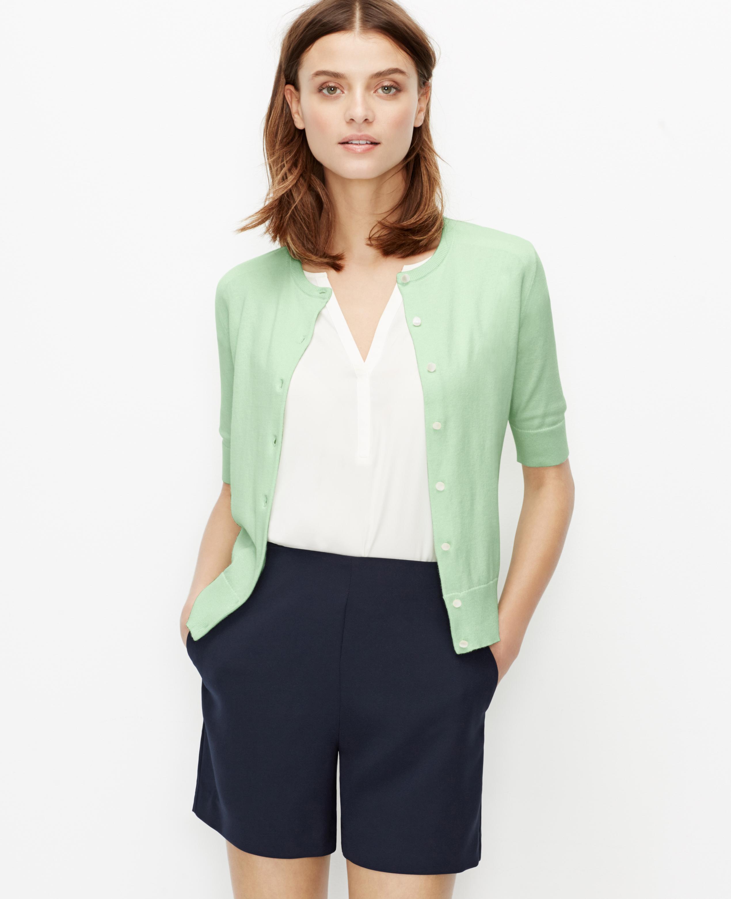 Ann taylor Short Sleeve Ann Cardigan in Green   Lyst