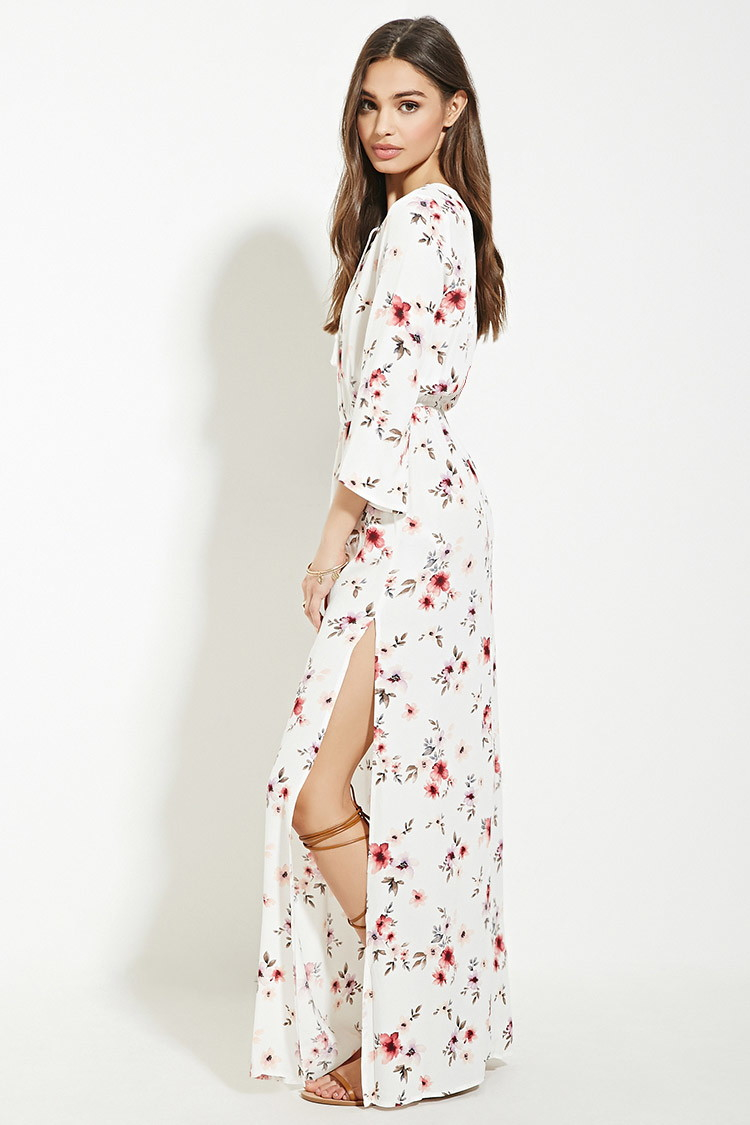 Forever 21 High Slit Floral Maxi Dress Lyst