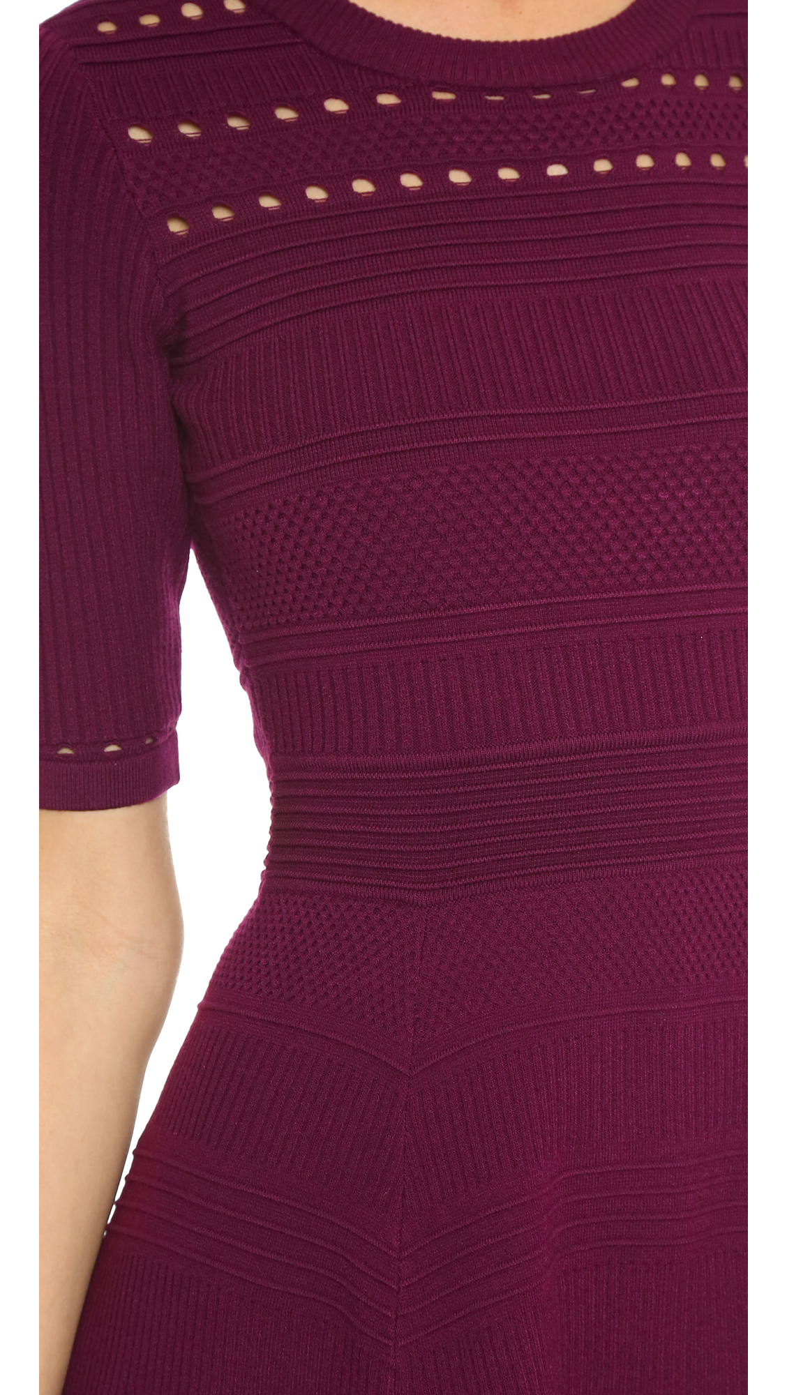 Lyst Milly Textured Stitch Flare Dress Burgundy In Purple
