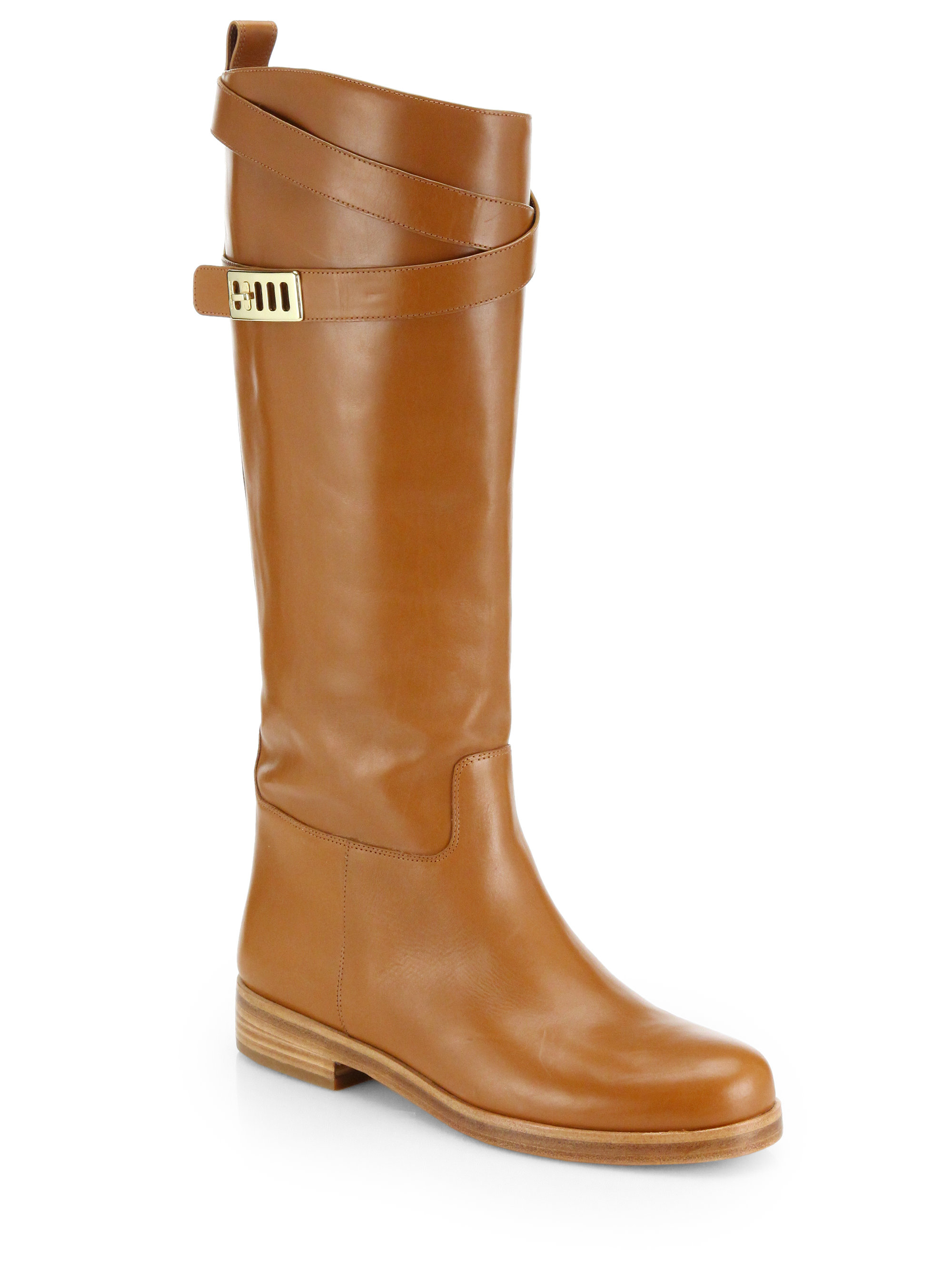 michael kors brynlee leather knee high boots in brown