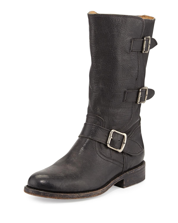frye leather moto boot in black lyst