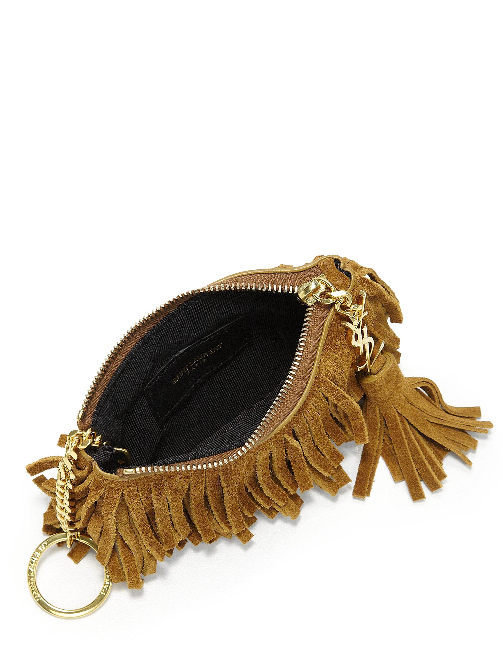 monogram fringe beaded pouch  black  yves saint laurent purses