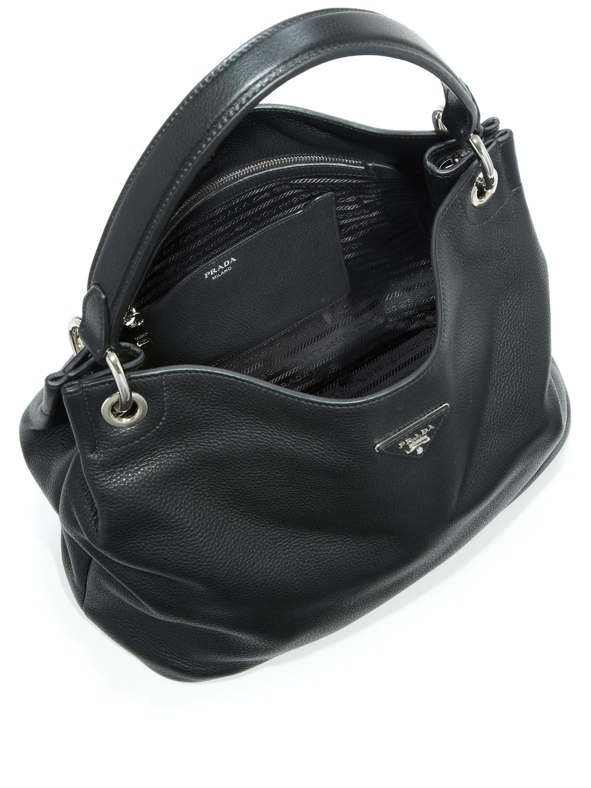 b50fabdd8df2 ... free shipping lyst prada daino hobo bag in black 595ef 0c052