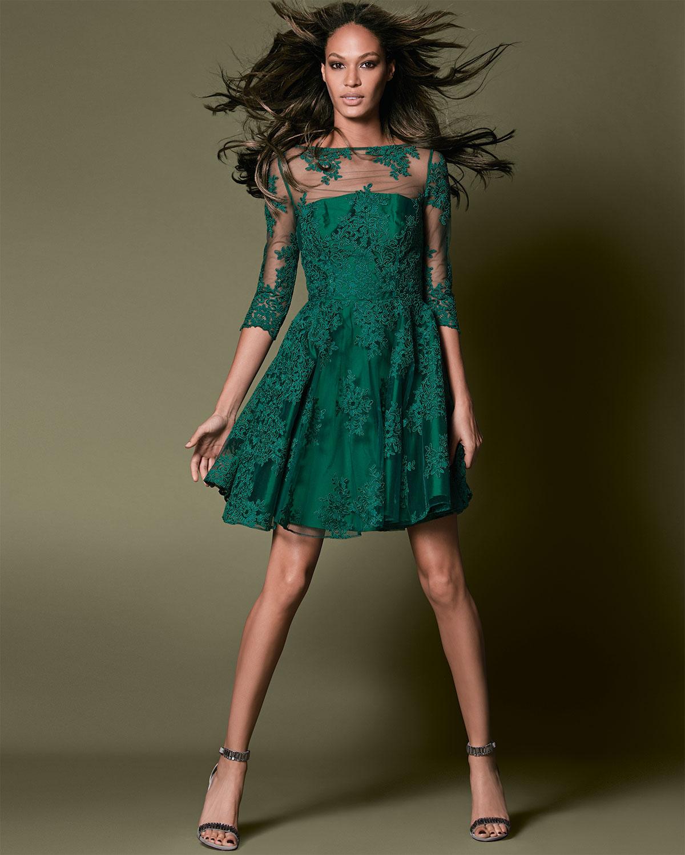 1d98e6e53e7 ML Monique Lhuillier 3 4-Sleeve Lace Illusion Cocktail Dress in ...