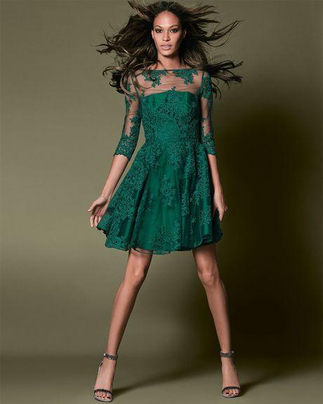 Ml Monique Lhuillier 3/4-Sleeve Lace Illusion Cocktail ...