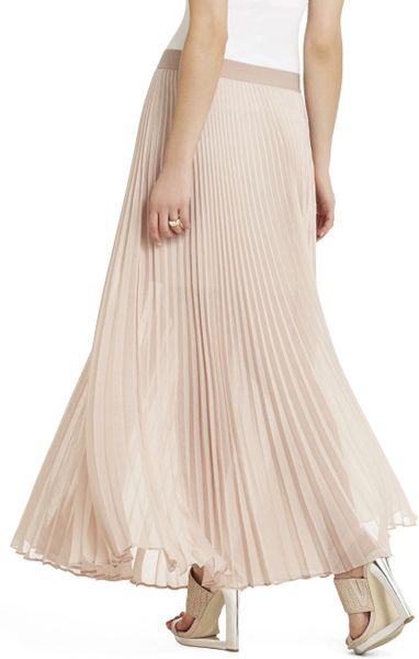 bcbgmaxazria estelle sunburstpleated maxi skirt in pink