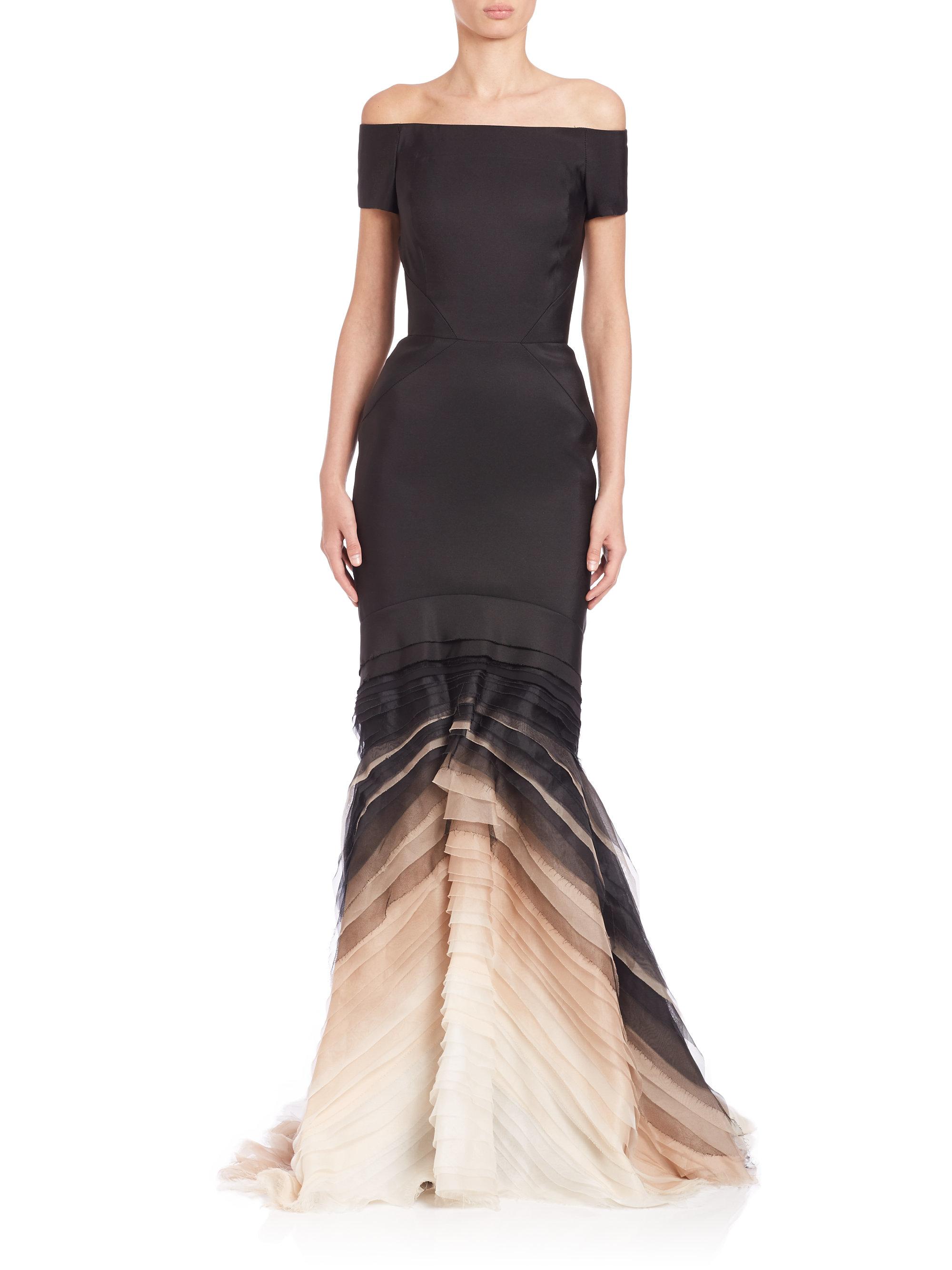 Lyst - J. Mendel Layered Silk Degrade Gown in Black
