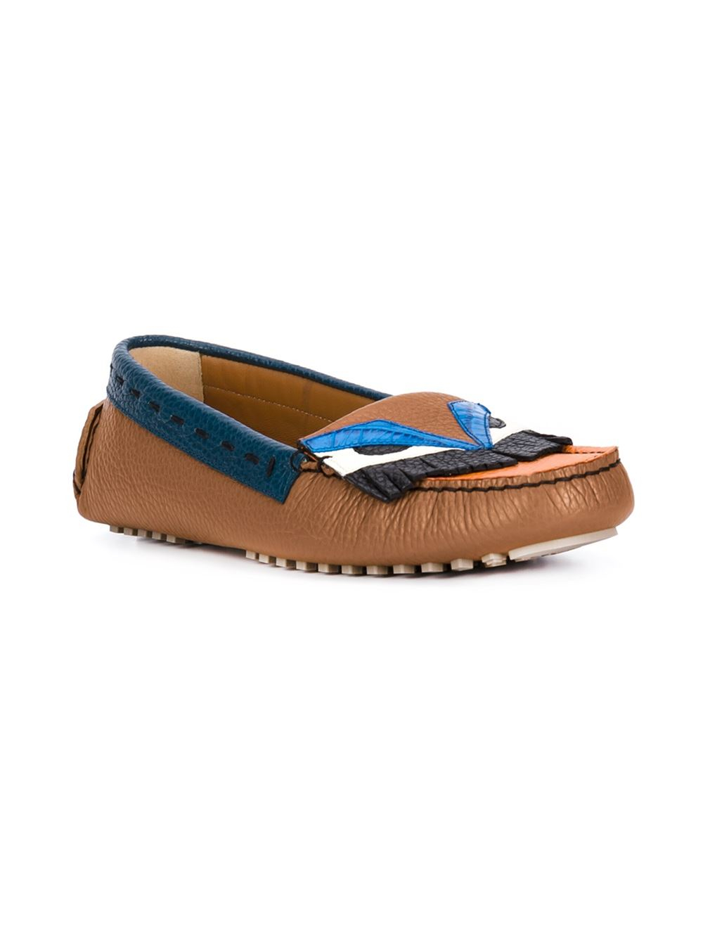 fendi bag bugs driving shoes in brown lyst