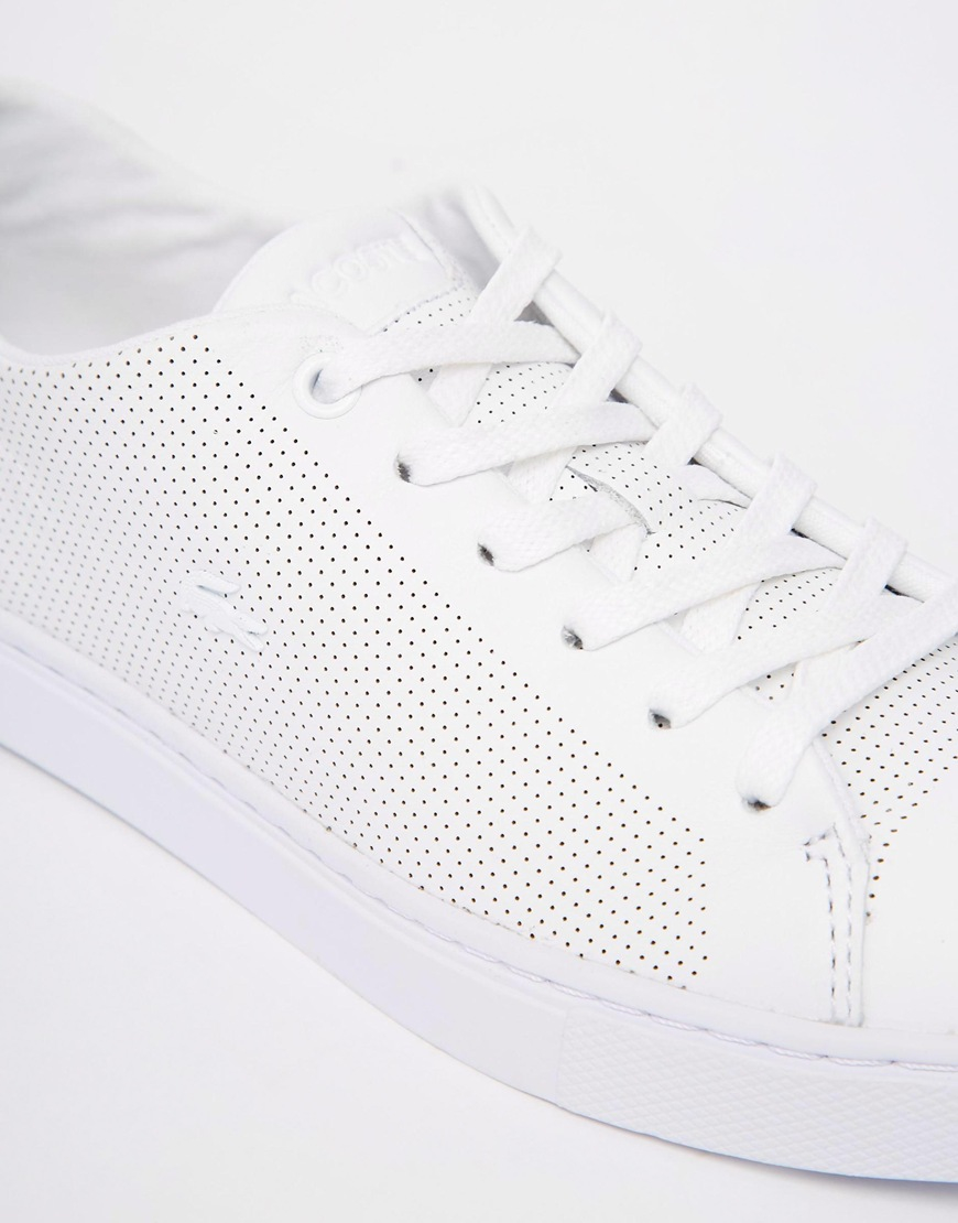 926d45be5a33c Lacoste Showcourt Lace 1 White Leather Trainers - White in White - Lyst