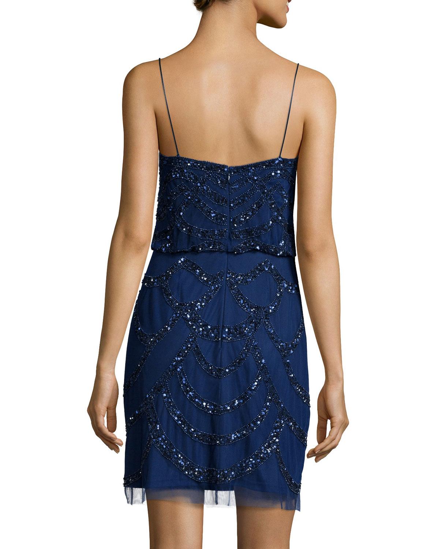 aidan mattox spaghetti beaded dress in blue lyst