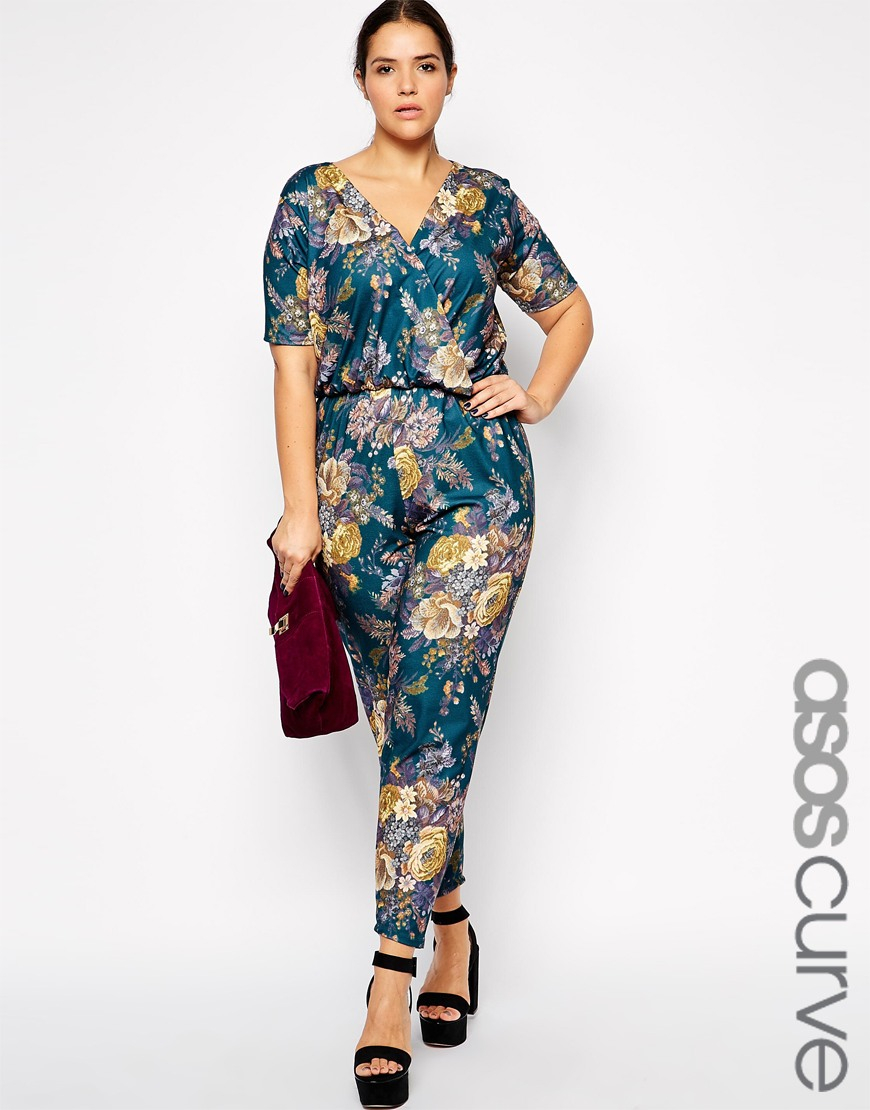 Lyst - Asos Exclusive Wrap Jumpsuit In Tapestry Floral