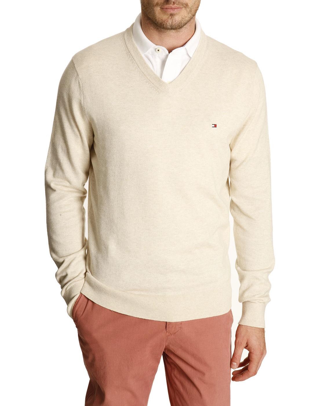 tommy hilfiger natural cotton and linen v neck sweater in. Black Bedroom Furniture Sets. Home Design Ideas