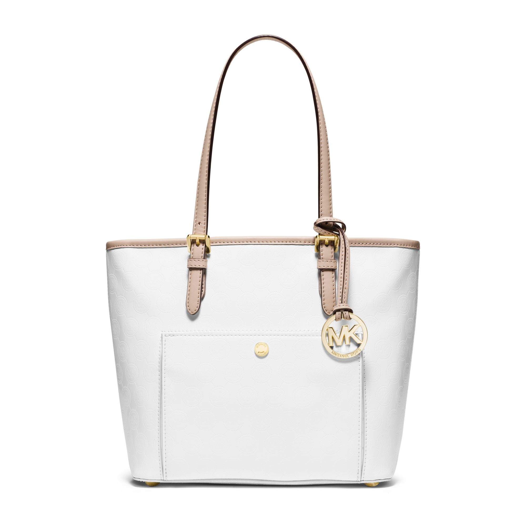 f8ef92e494a6 ... sweden lyst michael kors jet set travel medium metallic leather tote in  white ef24c 5598f