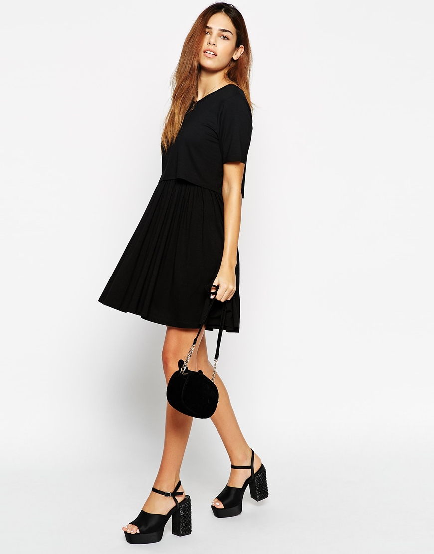 3d4631960224 Lyst - ASOS Skater Dress With T-shirt Overlay in Black