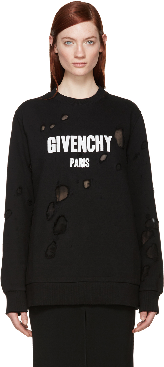 givenchy black destroyed logo pullover in black lyst. Black Bedroom Furniture Sets. Home Design Ideas