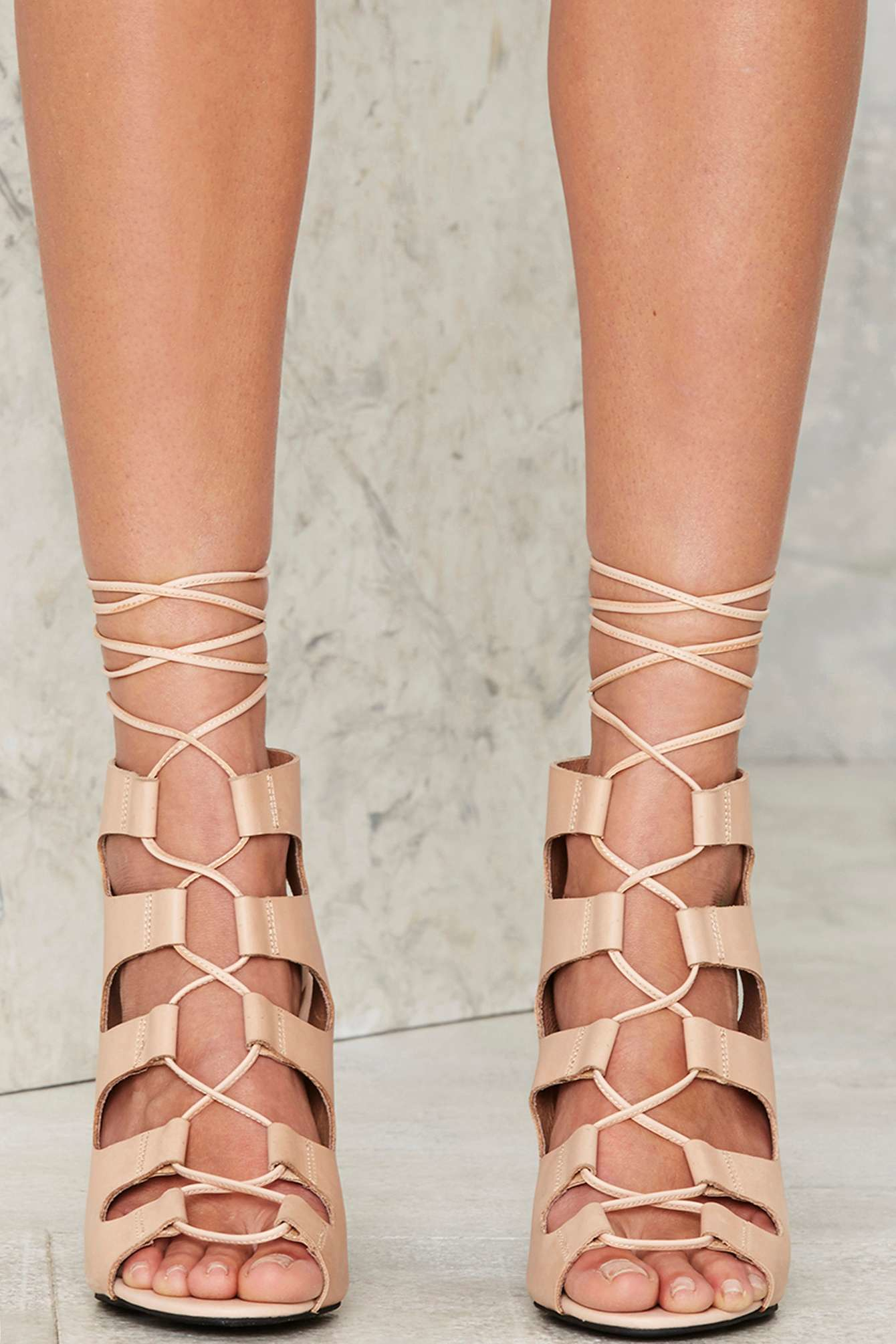 Lyst - Jeffrey campbell Be My Leather Lace-up Heels - Beige in Natural