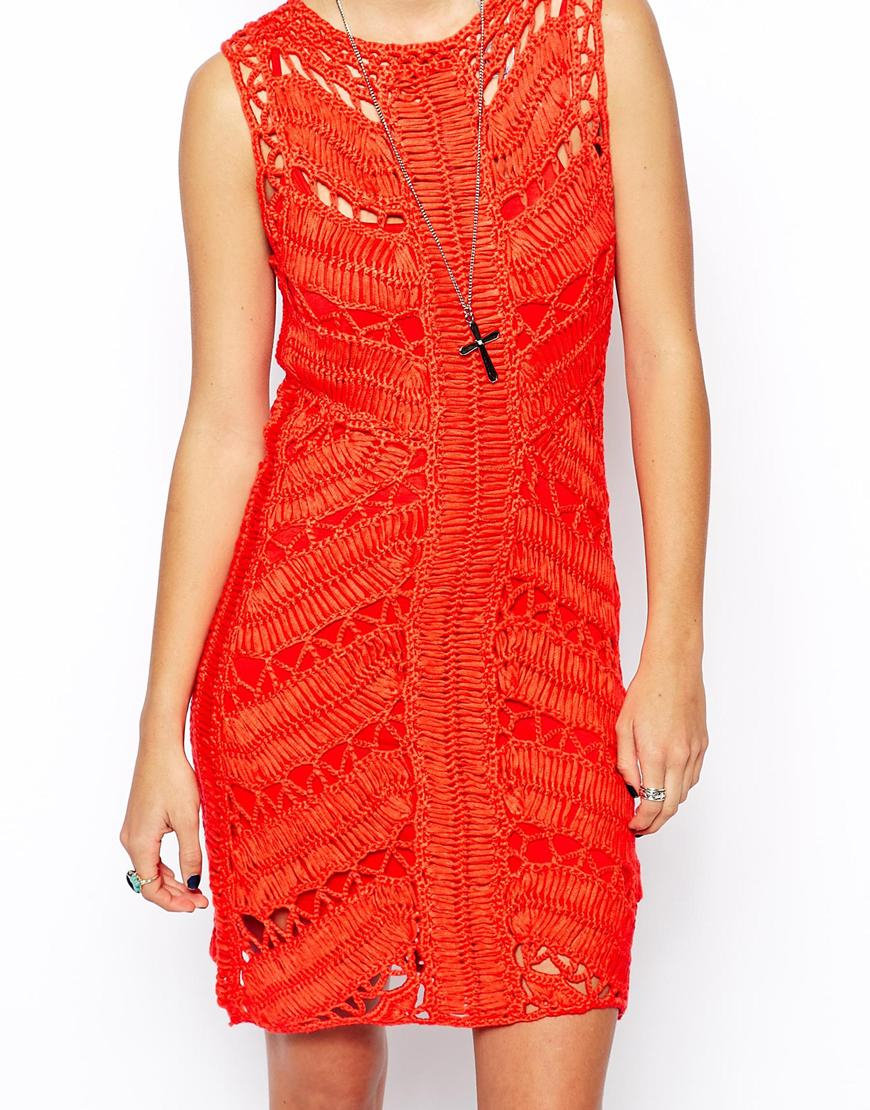 Asos Body Conscious Crochet Dress With Ladder In Red Lyst