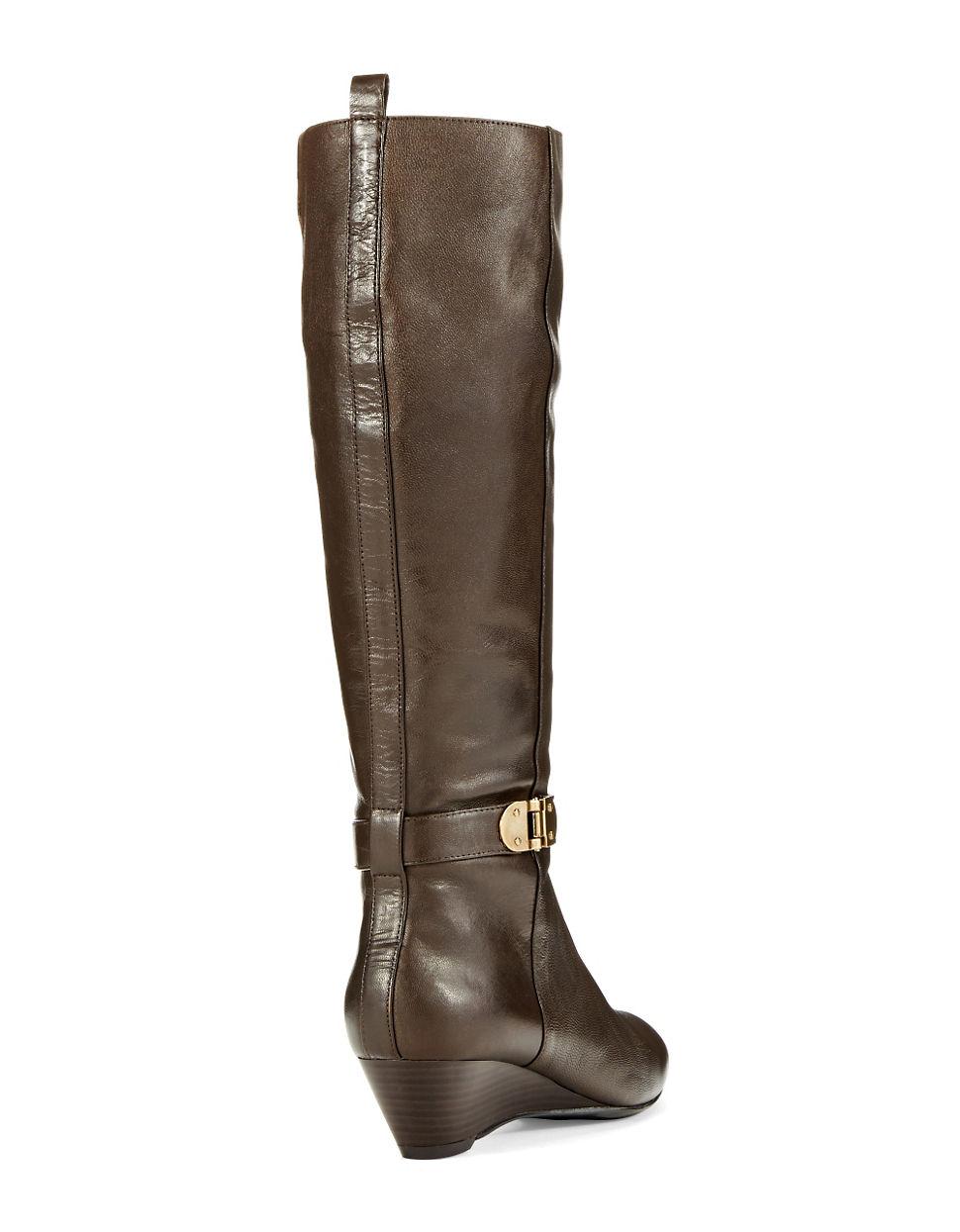 bandolino adanna wedge boots in brown lyst