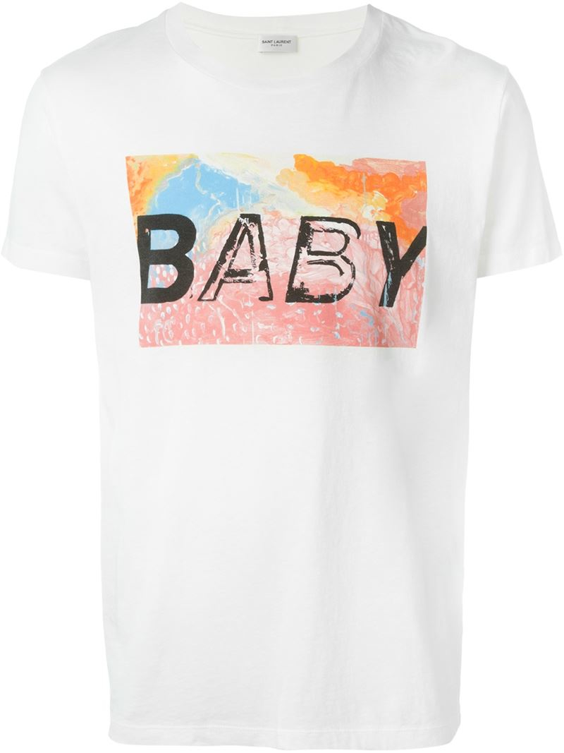 aabed3e1192 Saint Laurent Baby Print T-shirt in White for Men - Lyst