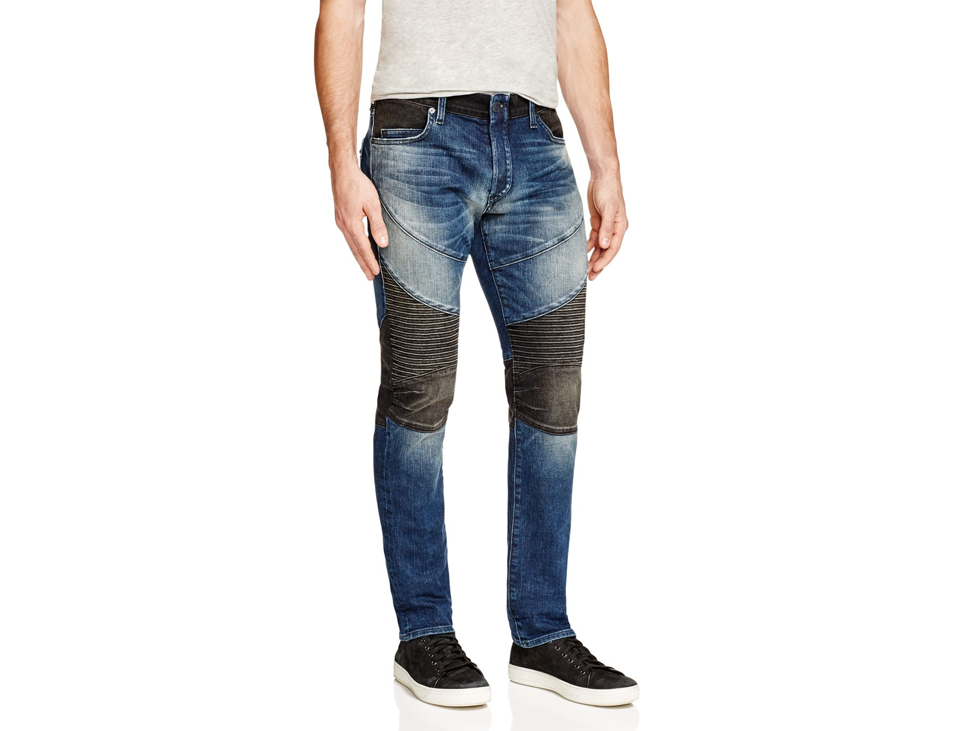 True religion Rocco Two-Toned Slim-Fit Moto Jeans in Blue for Men ...