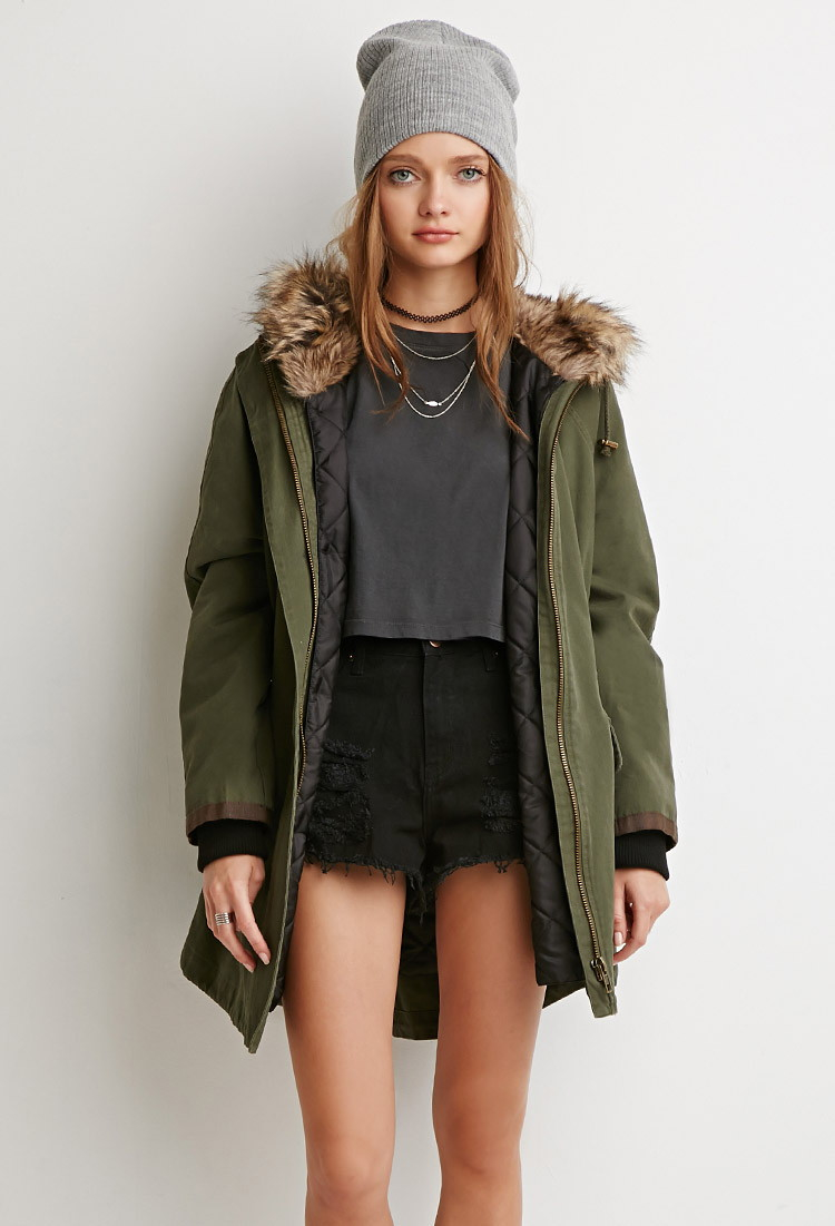 Forever 21 Faux Fur Hooded Utility Jacket in Green | Lyst